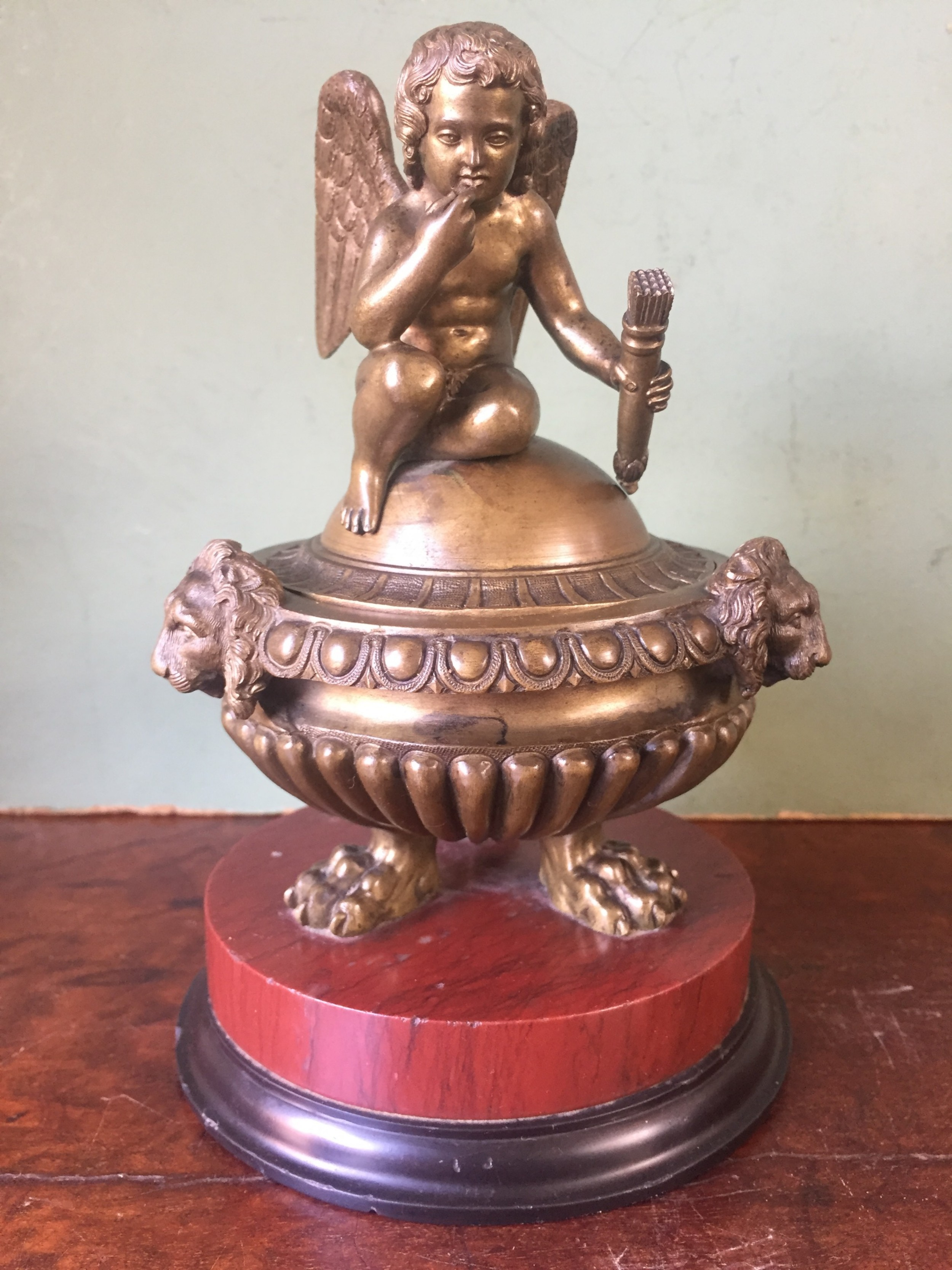 fine c19th italian bronze 'grand tour' souvenir type inkwell attributed to benedetto boschetti rome
