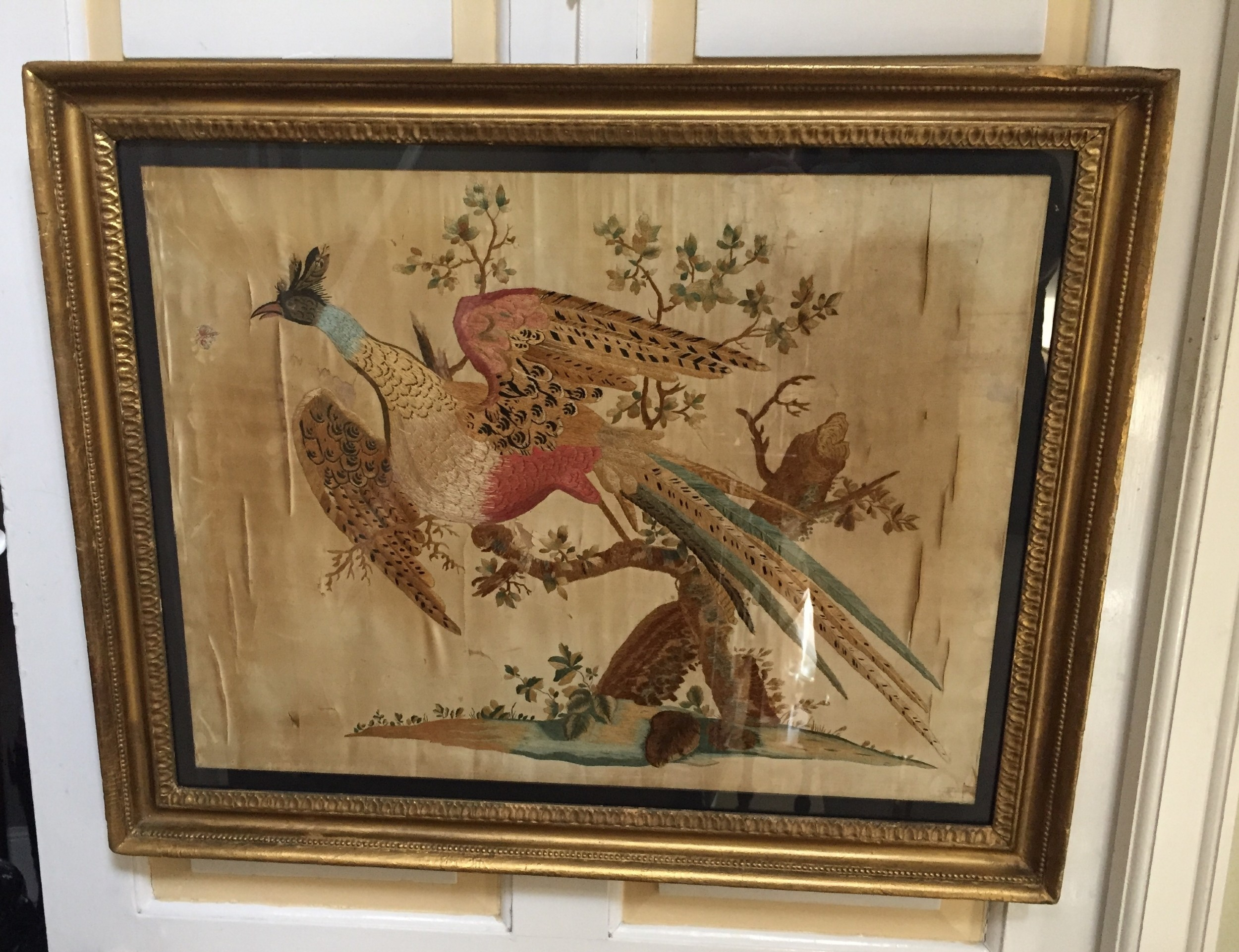 highly decorative early c19th english silk needlework picture of an exotic chinese pheasant in original giltwood frame