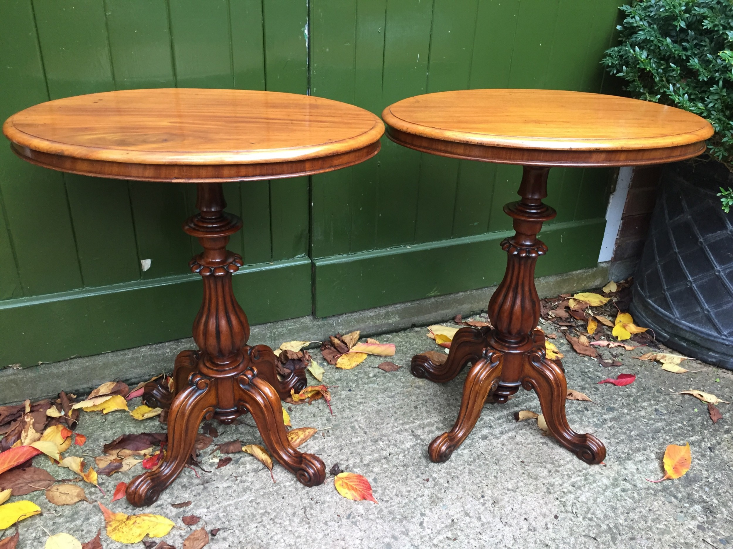 pair of mid c19th victorian period mahogany ovaltop occasional or lamp tables