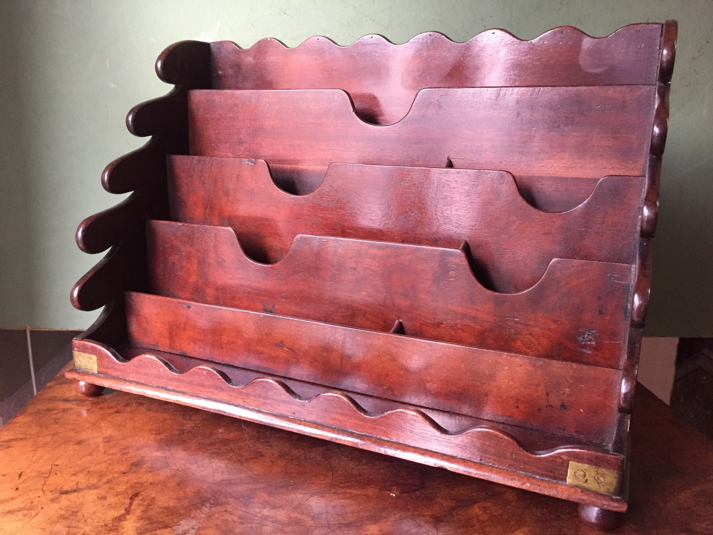 late c18th early c19th george iii period brassbound mahogany desktop waterfall letter or stationary rack