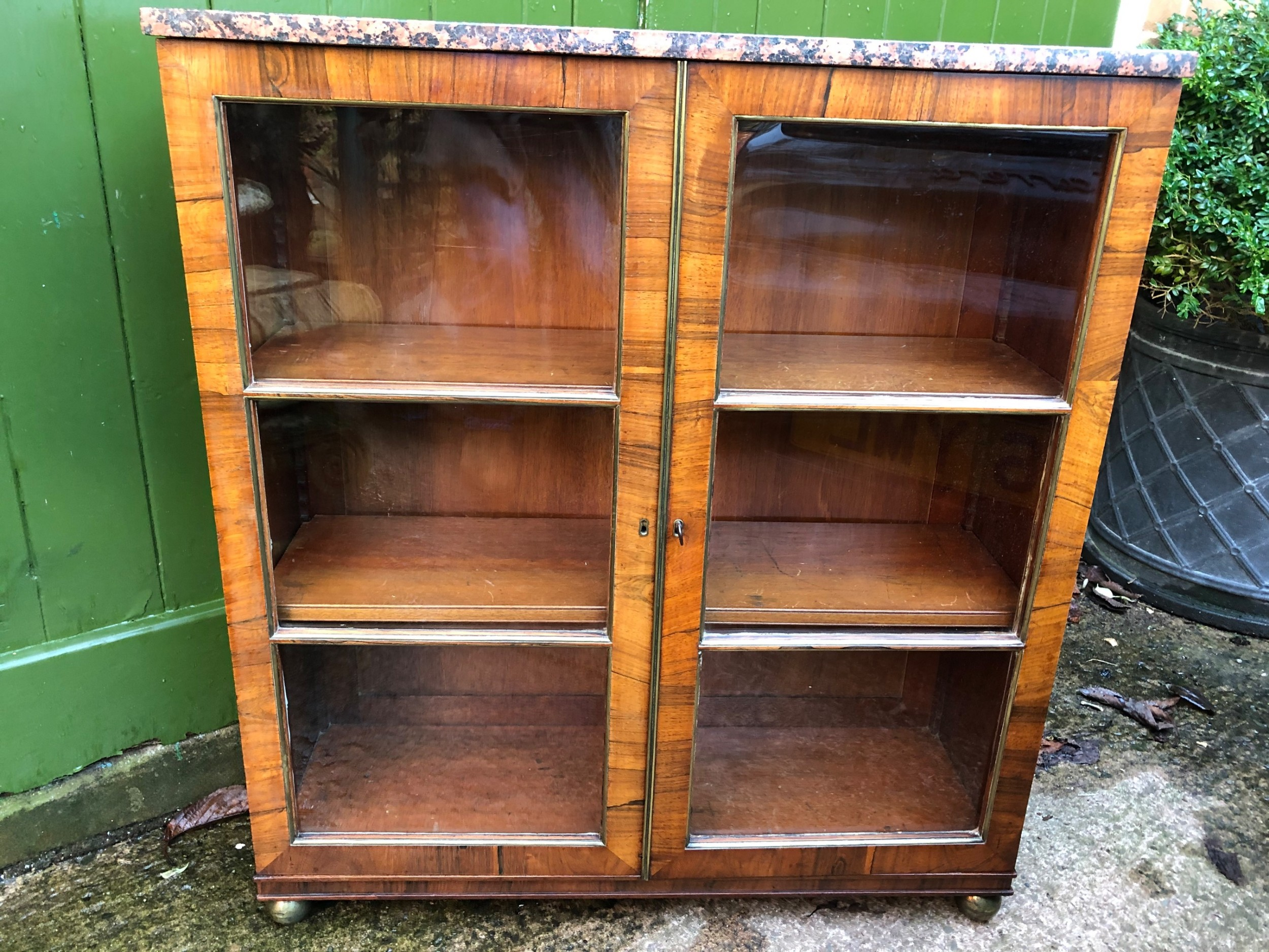 early c19th regency period rosewood and mahogany glazed dwarf bookcase cabinet