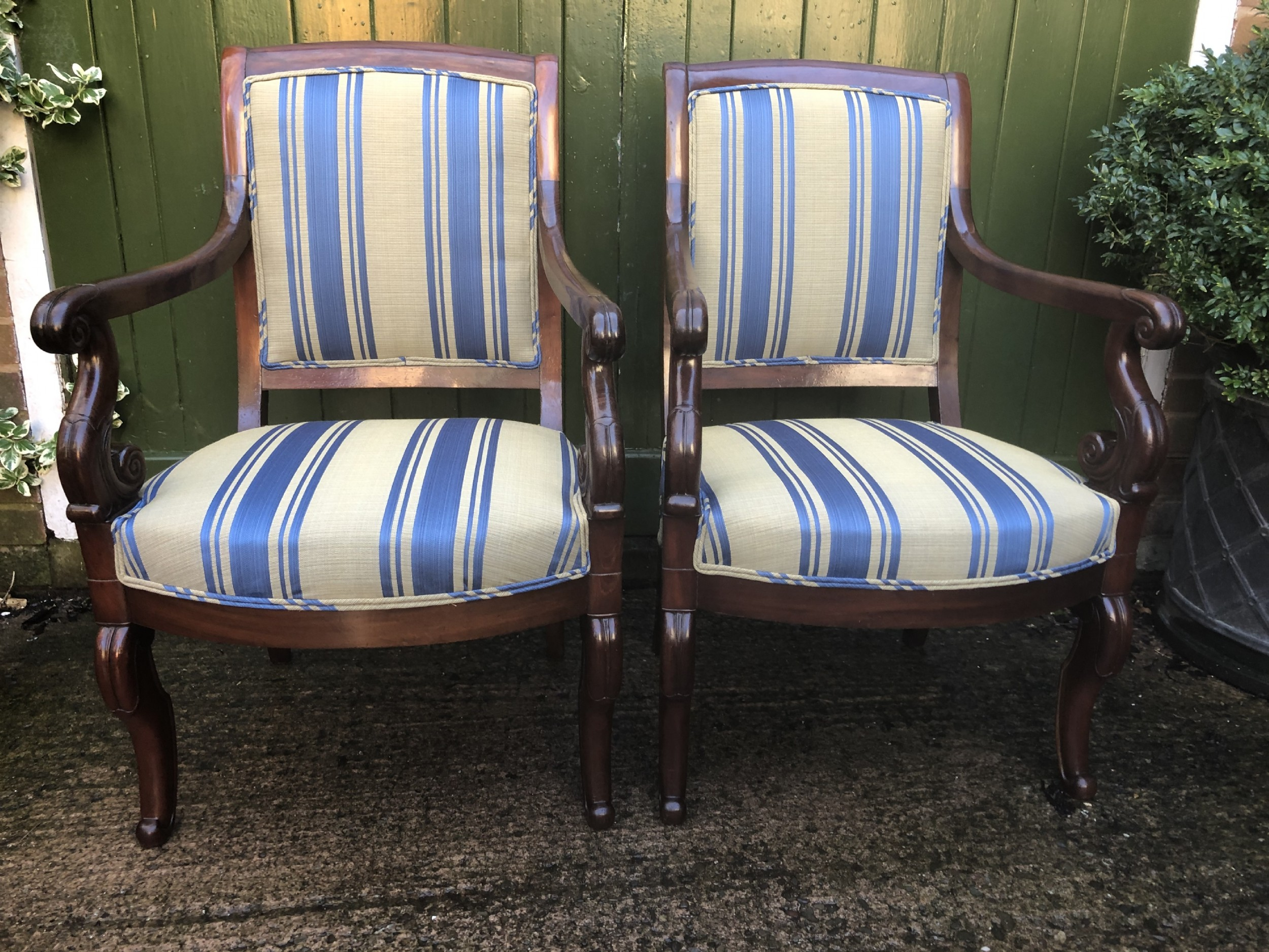 pair of early c19th french charles x period mahoganyframed salon armchairs