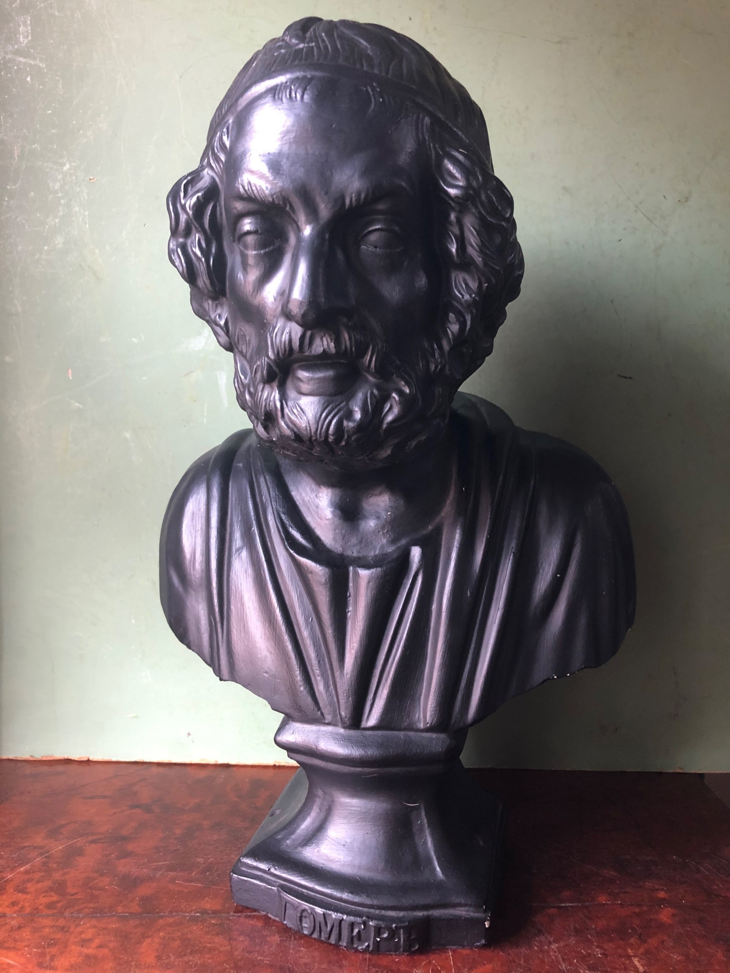 late c19th patinated plaster library portrait bust study of the greek classical poet homer
