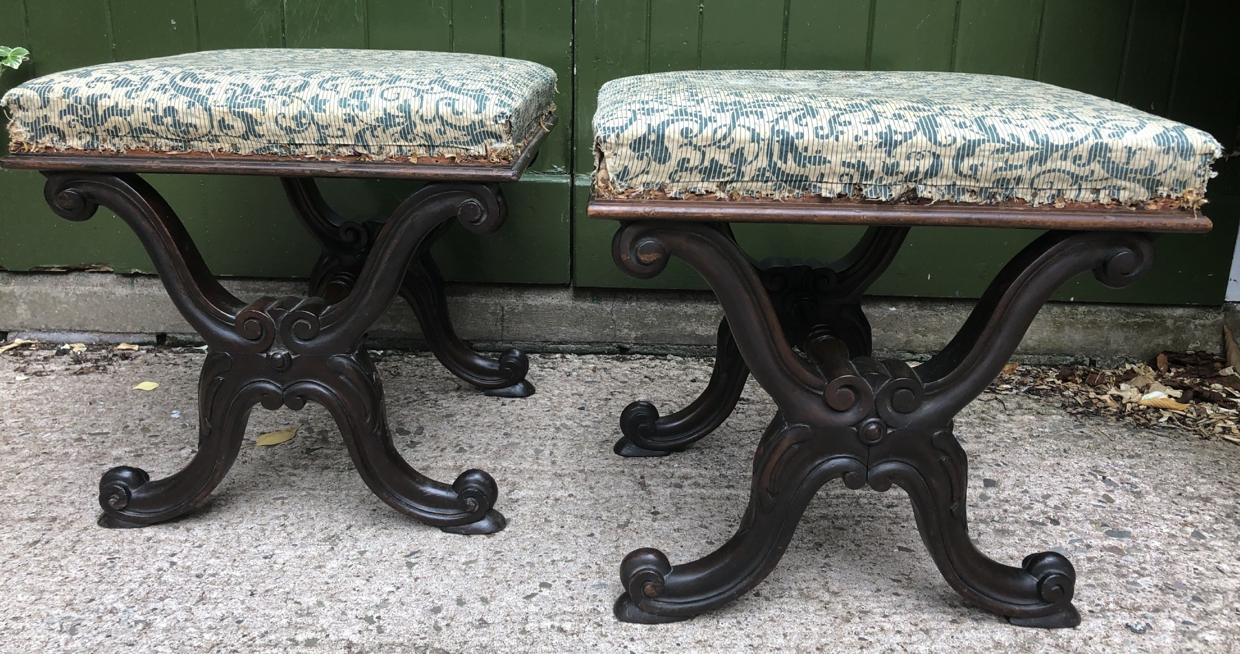 pair of early c19th william iv period carved rosewood stools of xframe form