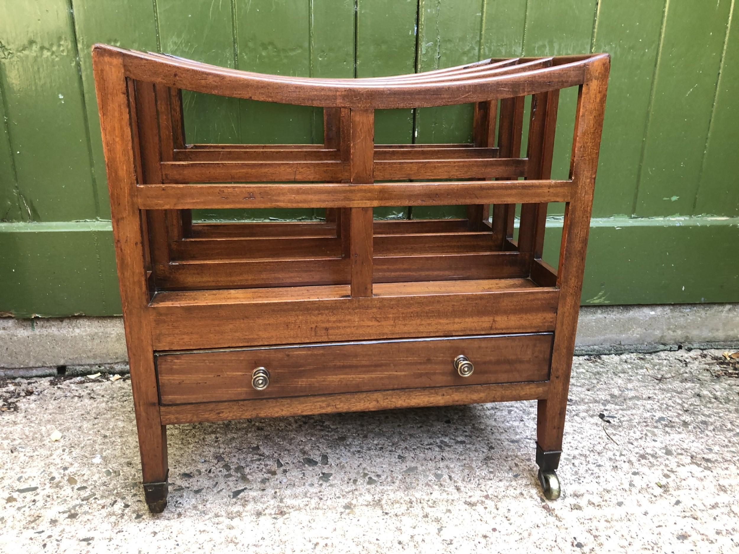 early c19th late george iii period mahogany canterbury or magazine rack