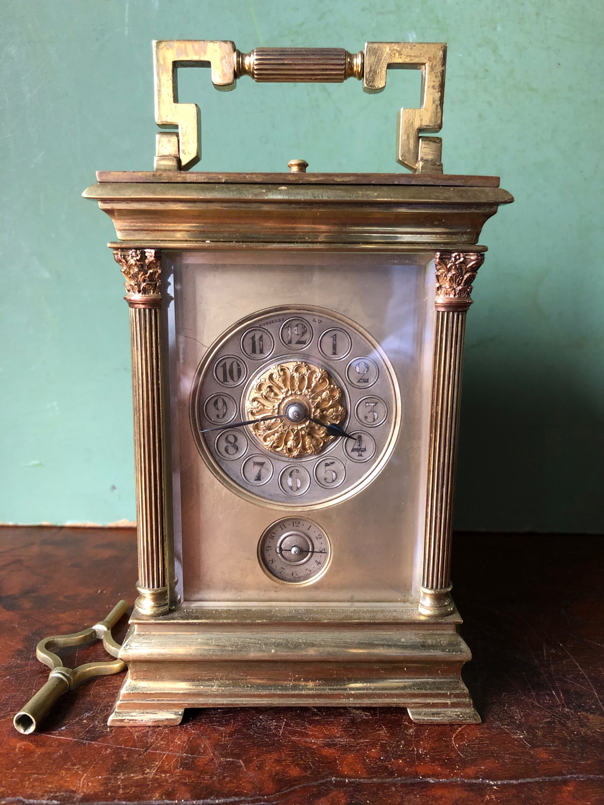 fine quality late c19th french gilt brass grande sonnerie carriage clock with interesting provenance