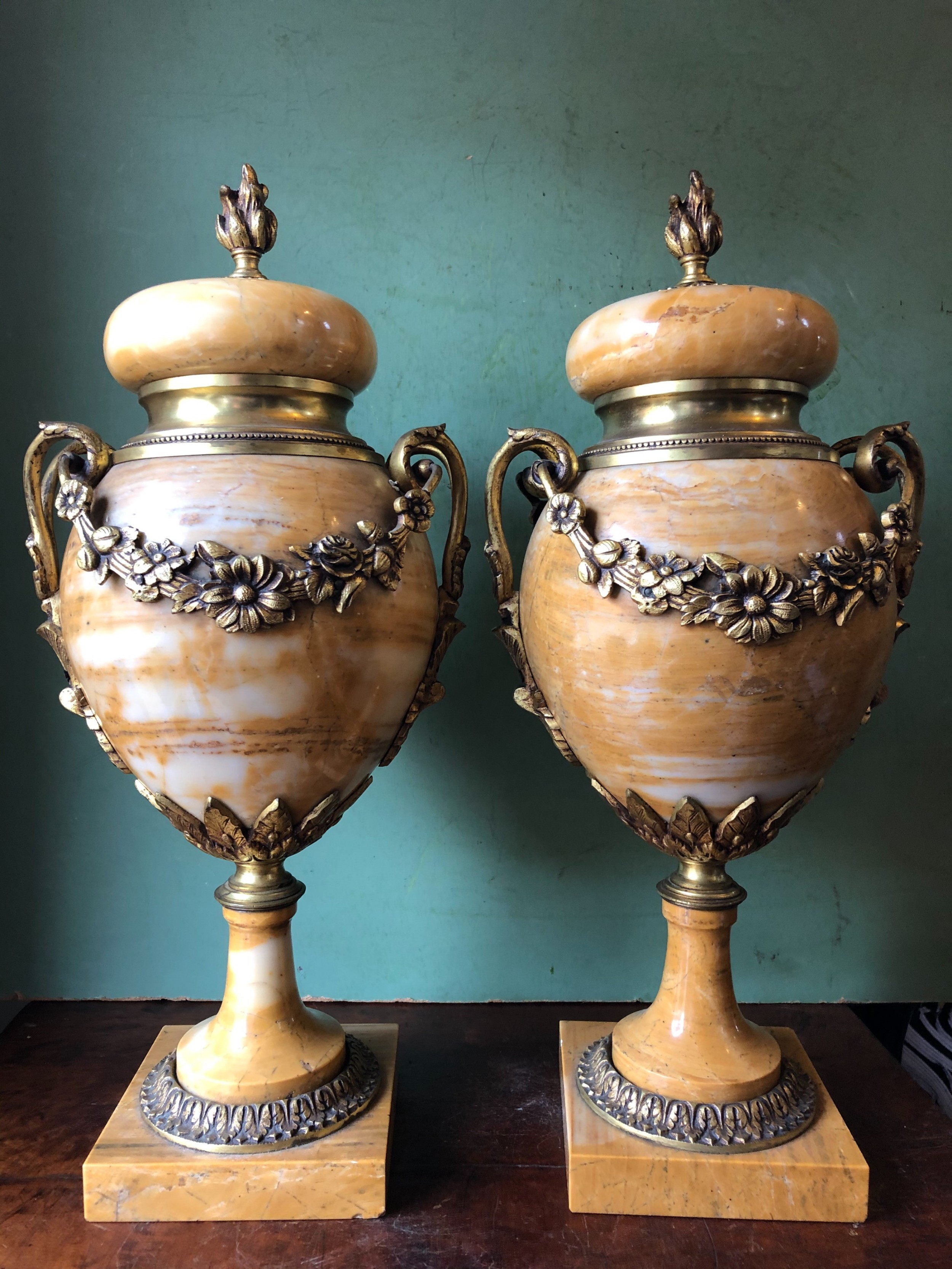 pair of late c19th early c20th french ormolumounted giallo di siena marble vases or cassolettes