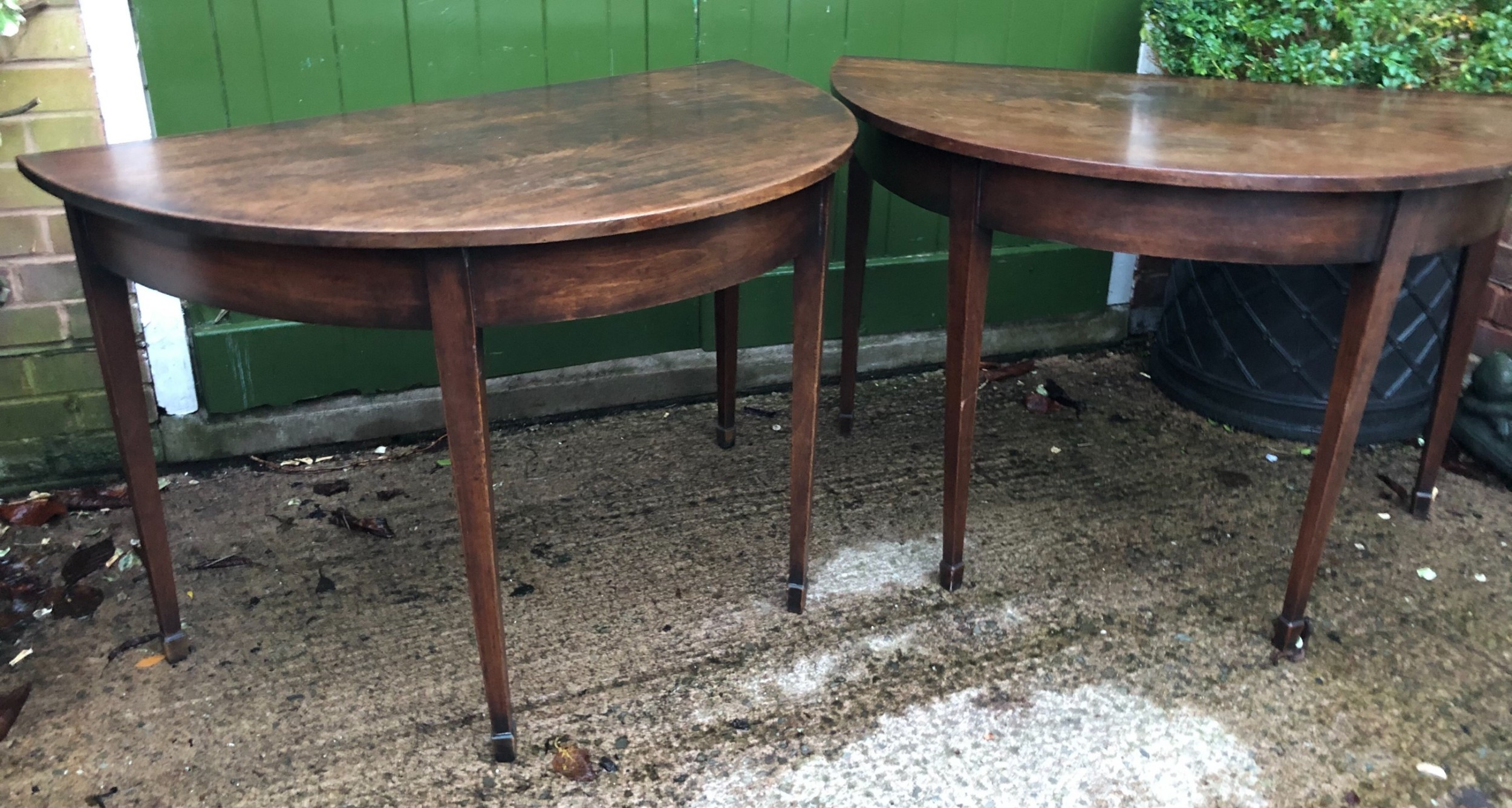 pair of c18th george iii period cuban mahogany demilune tables