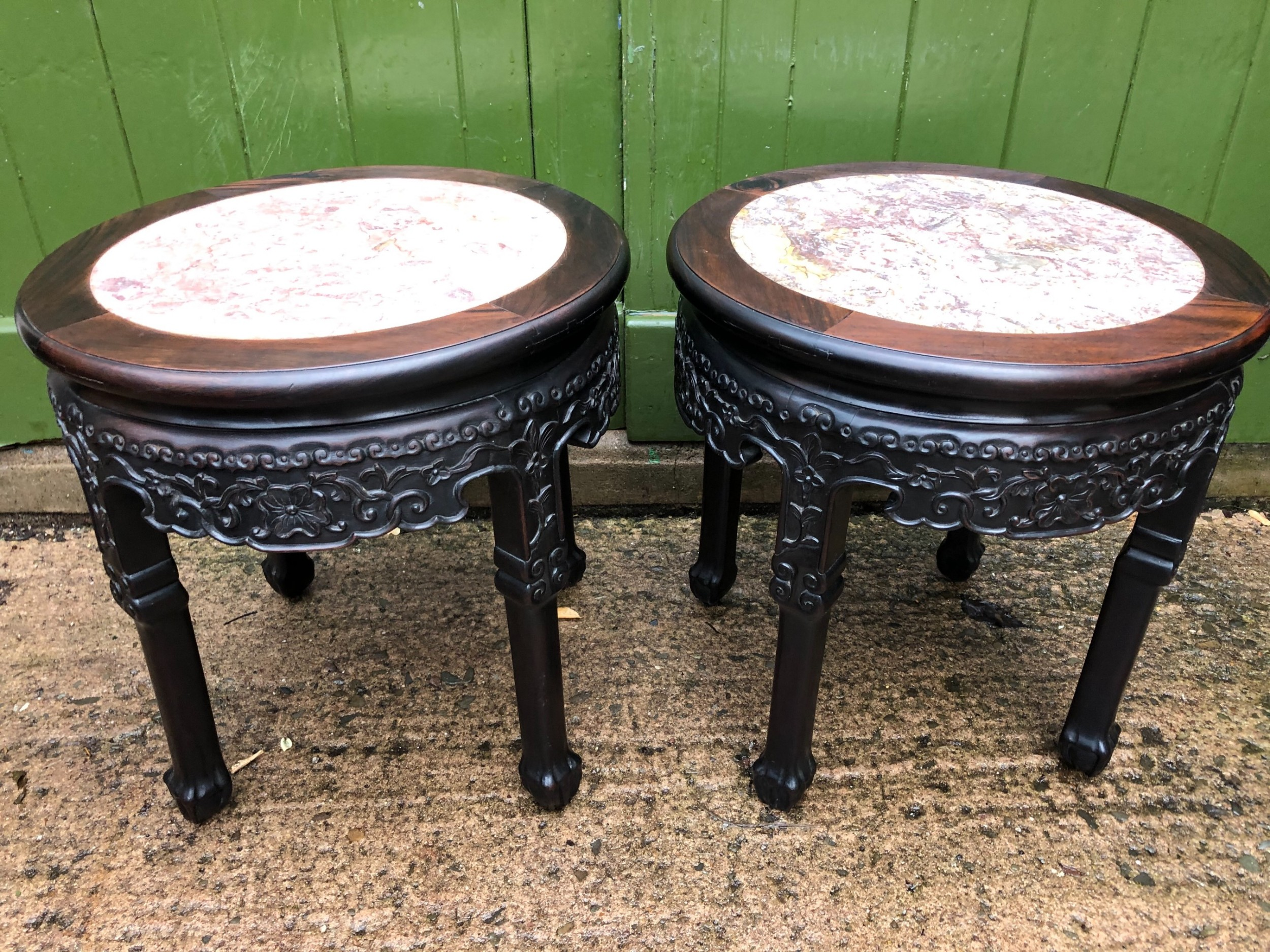 pair of late c19thearly c20th chinese qing dynasty carved hardwood rouge marble topped circular tables