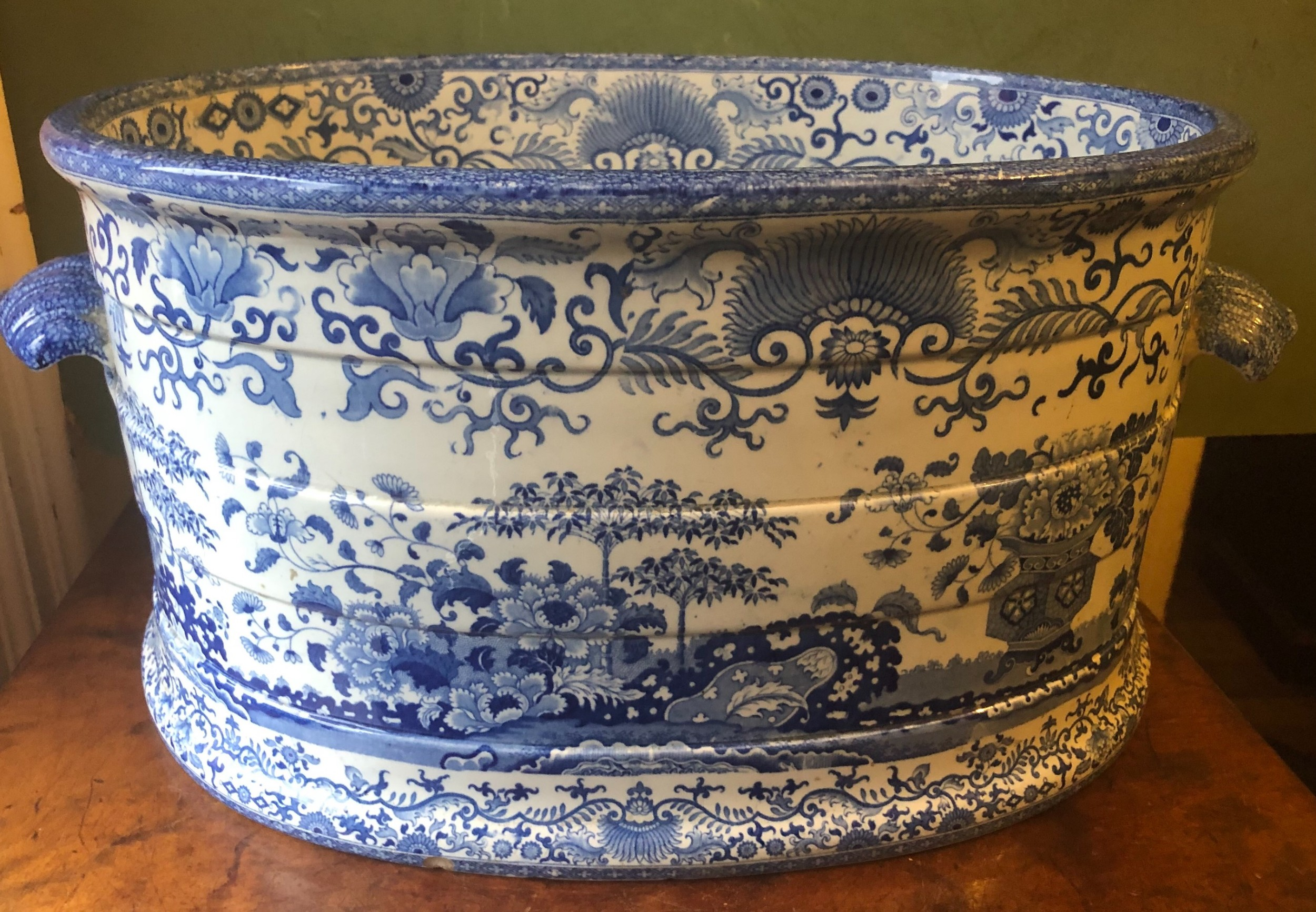 early c19th mintons blueandwhite transfer print pottery footbath