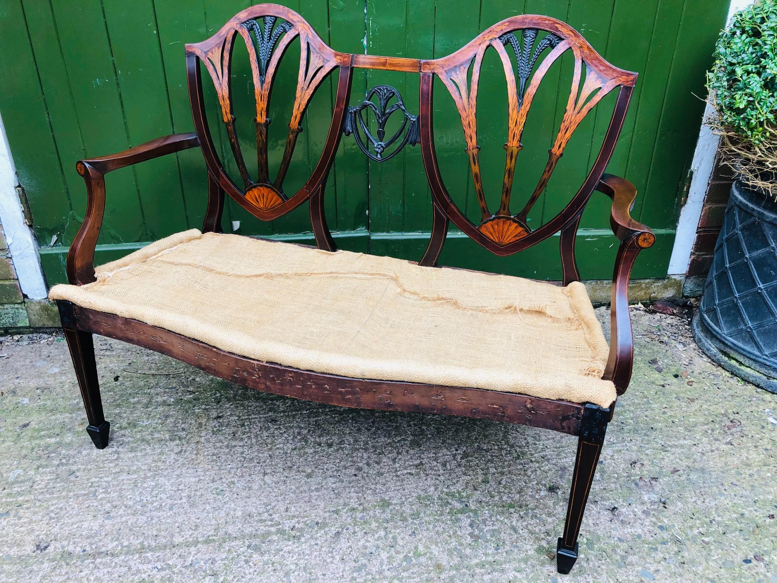 late c19th hepplewhite revival george iii period style mahogany chairback settee