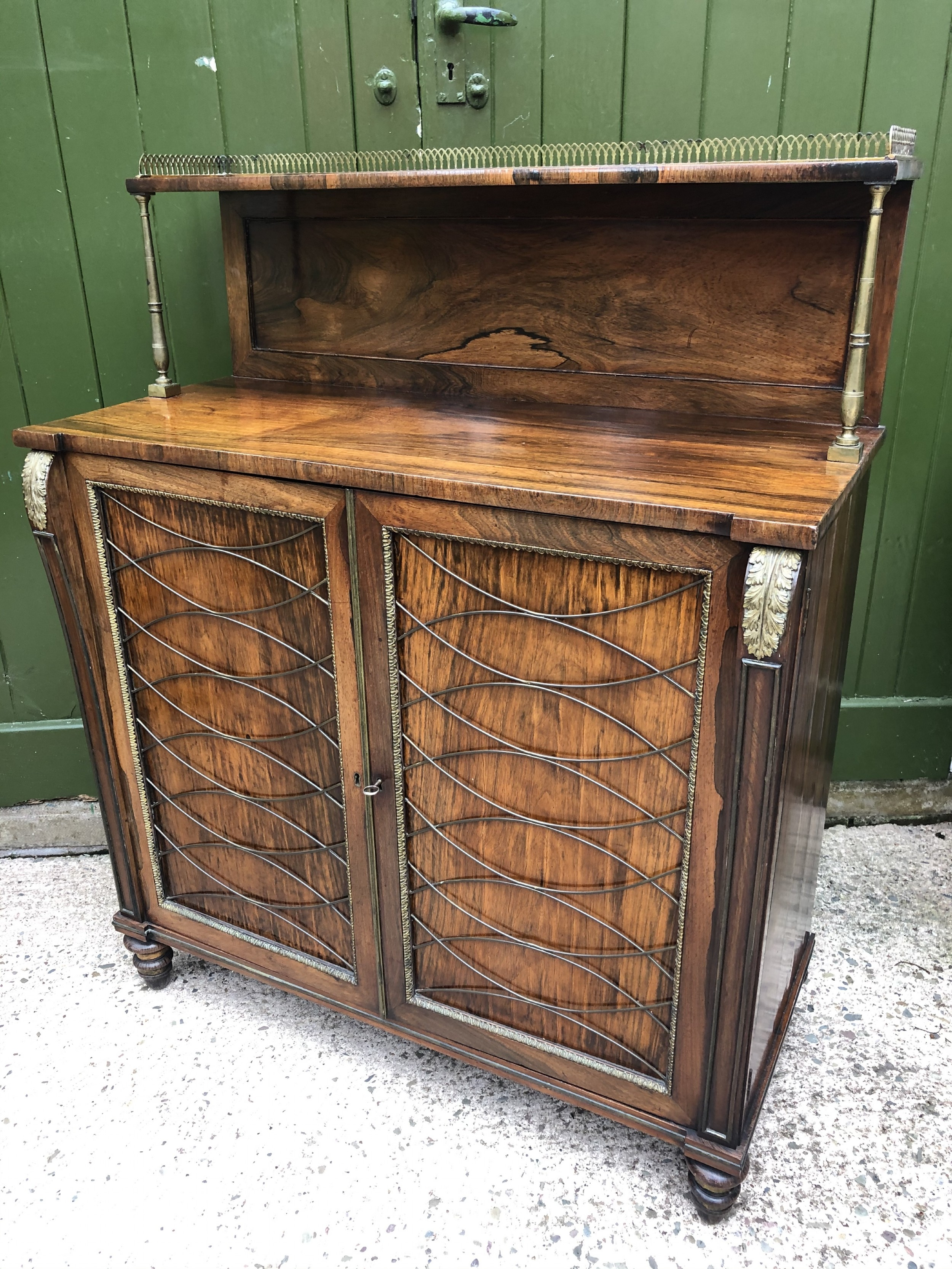 fine quality early c19th regency period rosewood and gilt brassmounted chiffonier