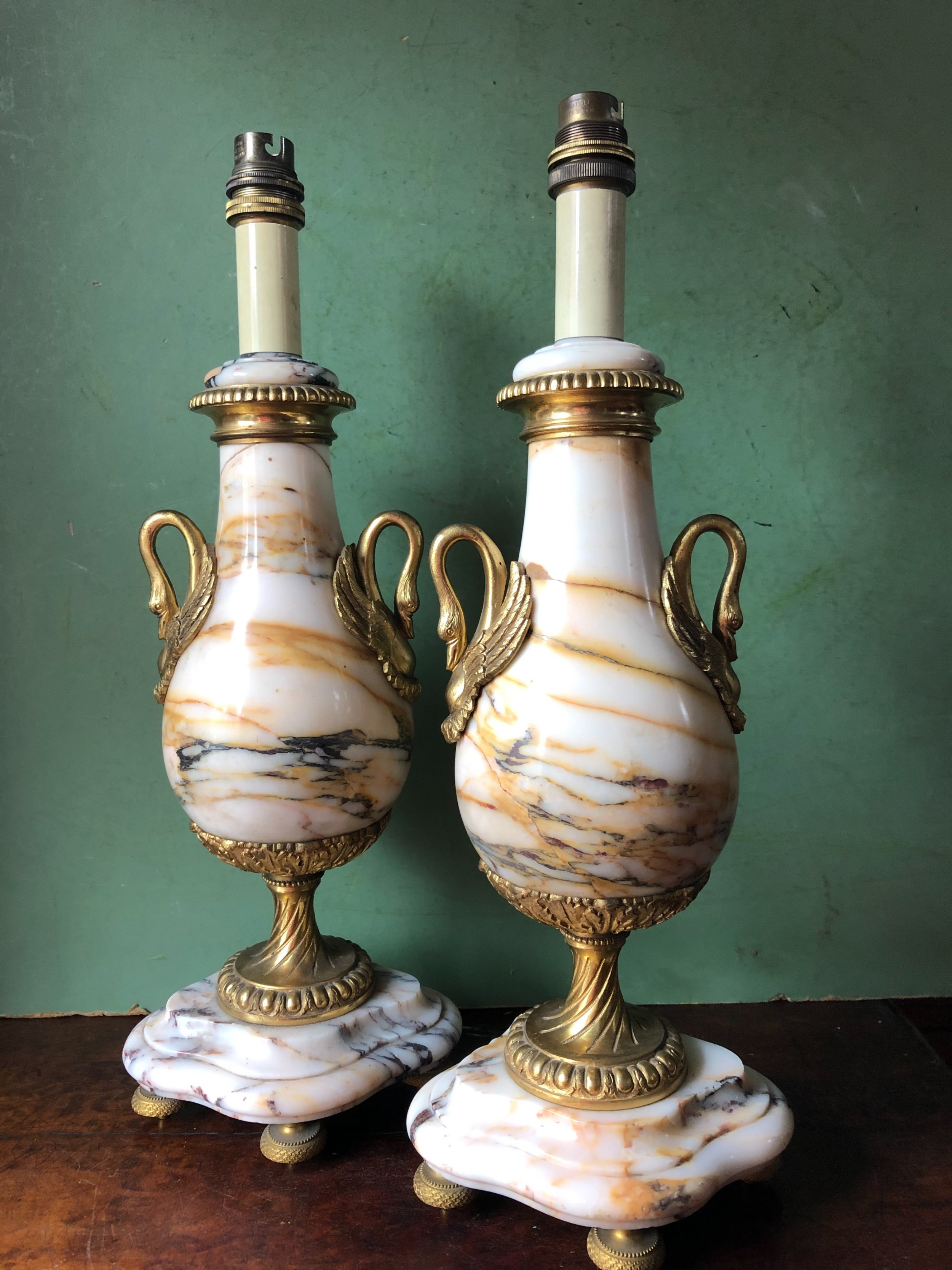 pair of early c20th french marble and ormolumounted lamp bases in the louis xvi style