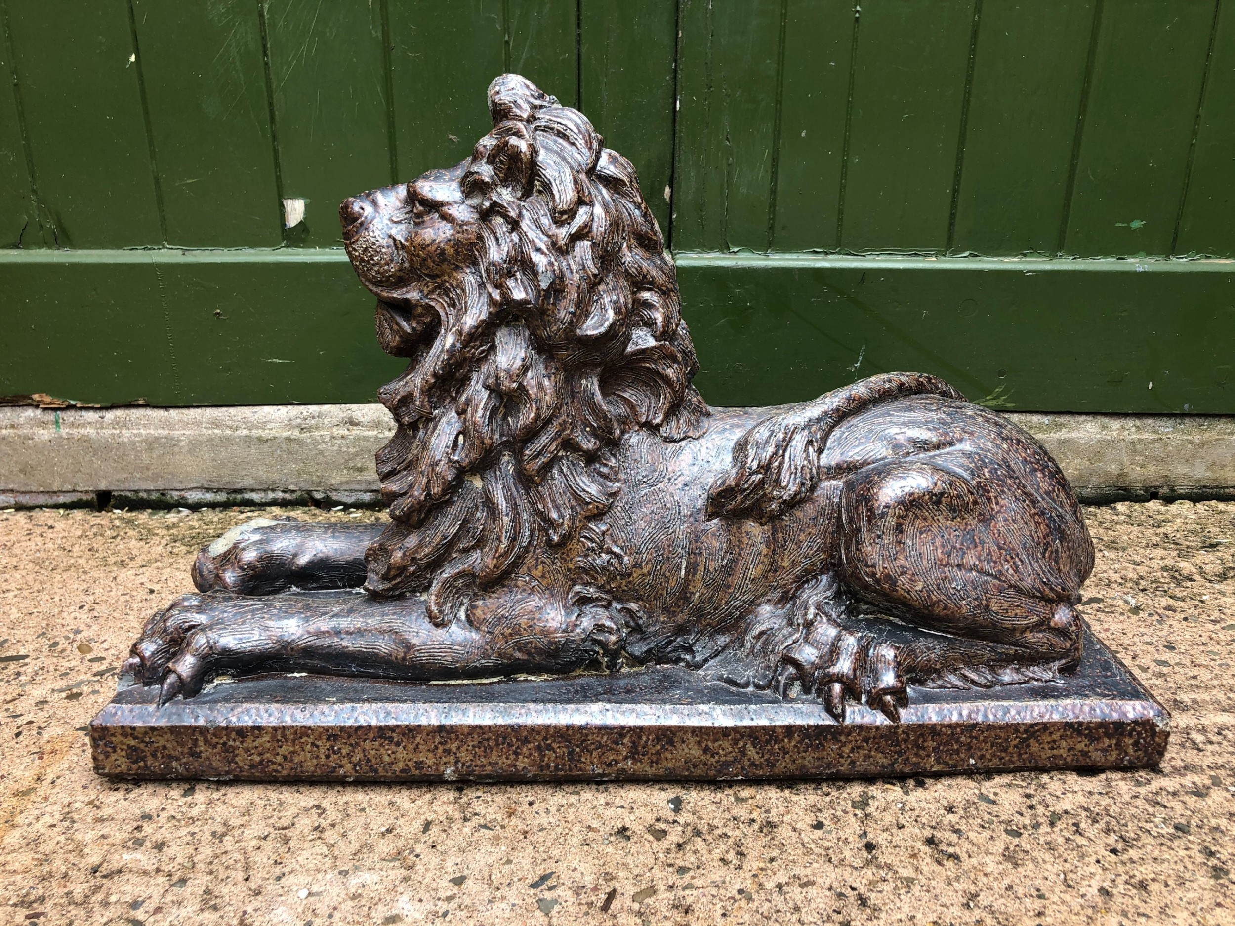 late c19th saltglaze pottery sculpture of a lion