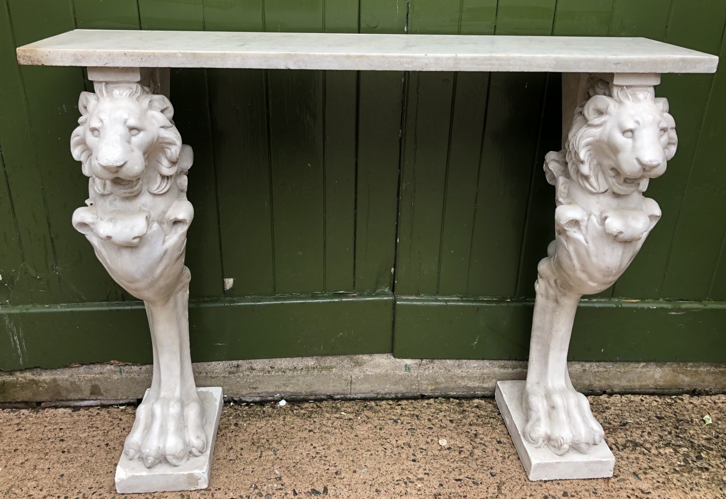 stylish late c19th early c20th marbletop console table of regency period design