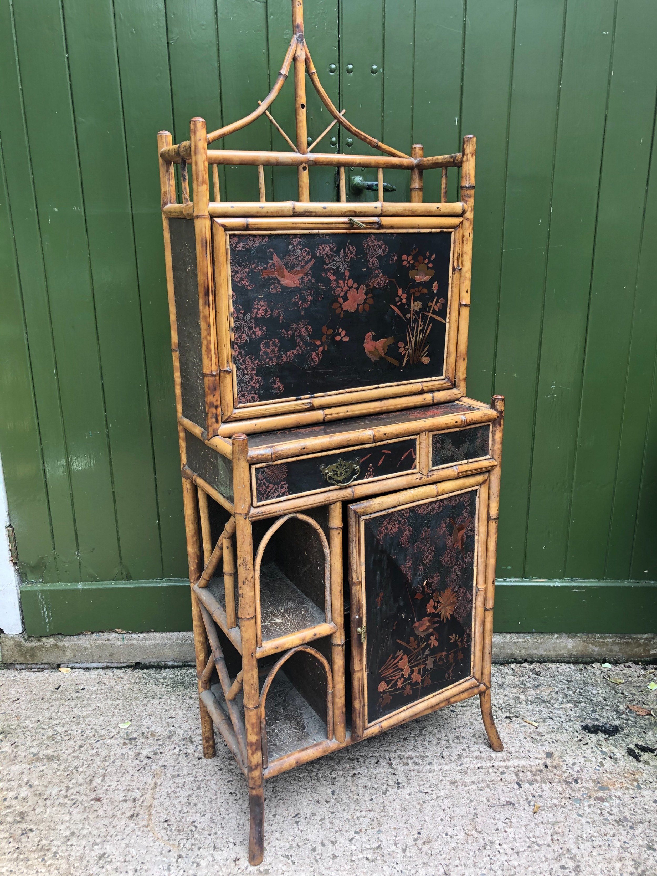late c19th chinoiserie bamboo and lacquer pagodatopped escritoire cabinet