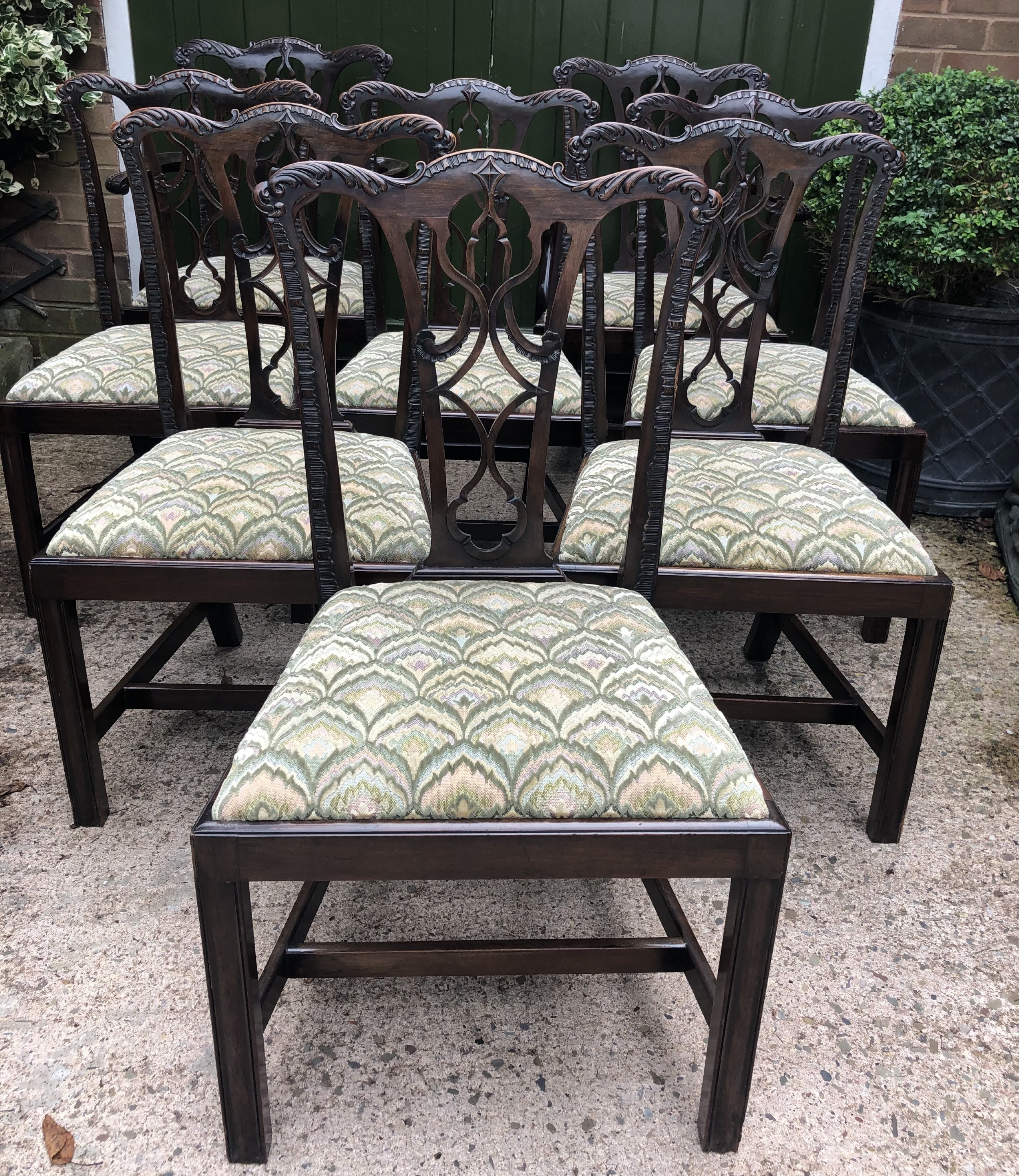 set of 8 early c20th carved mahogany dining chairs in the mid c18th chippendale period style