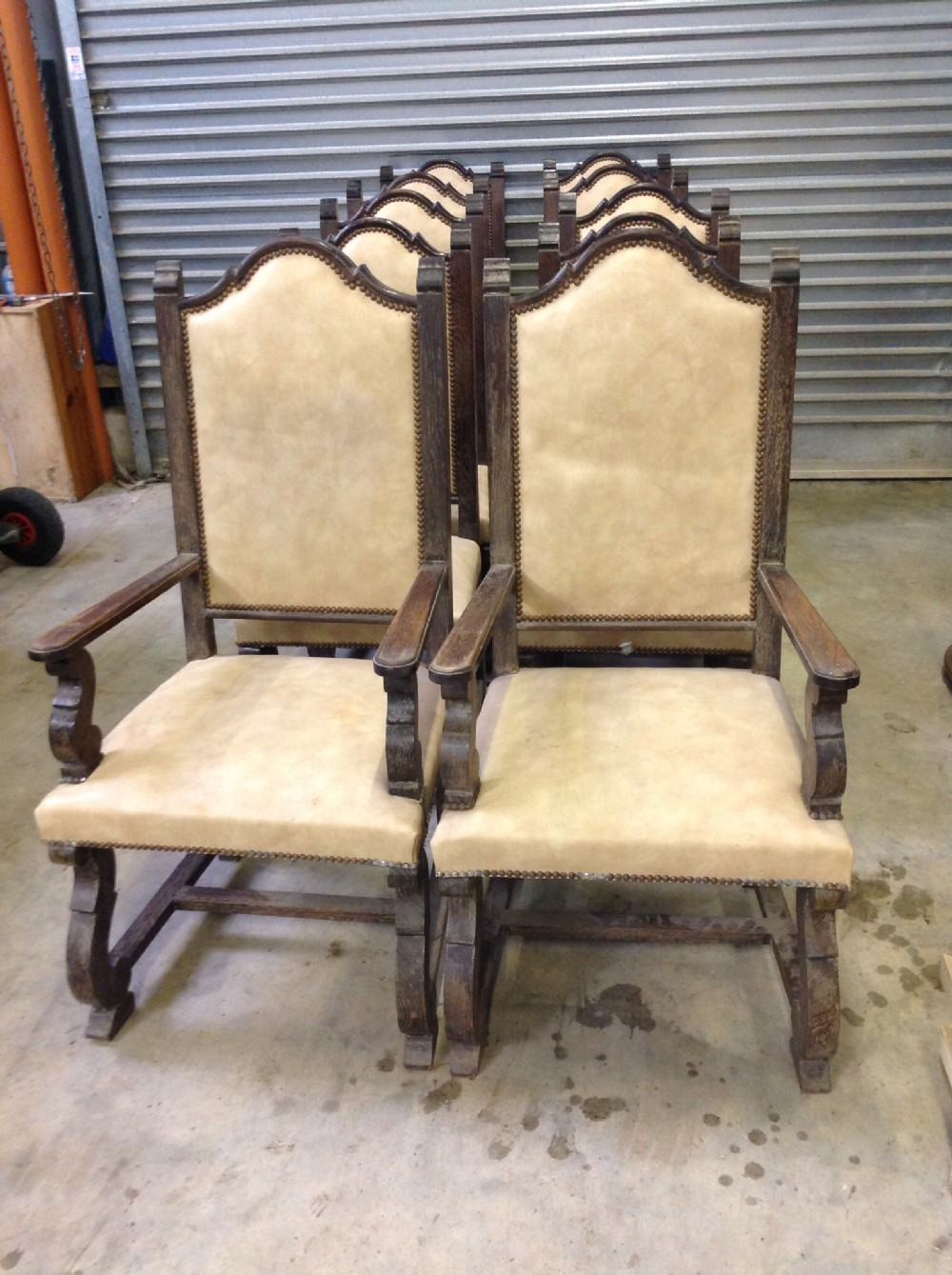 set of 10 chairs two armchairs and eight singles