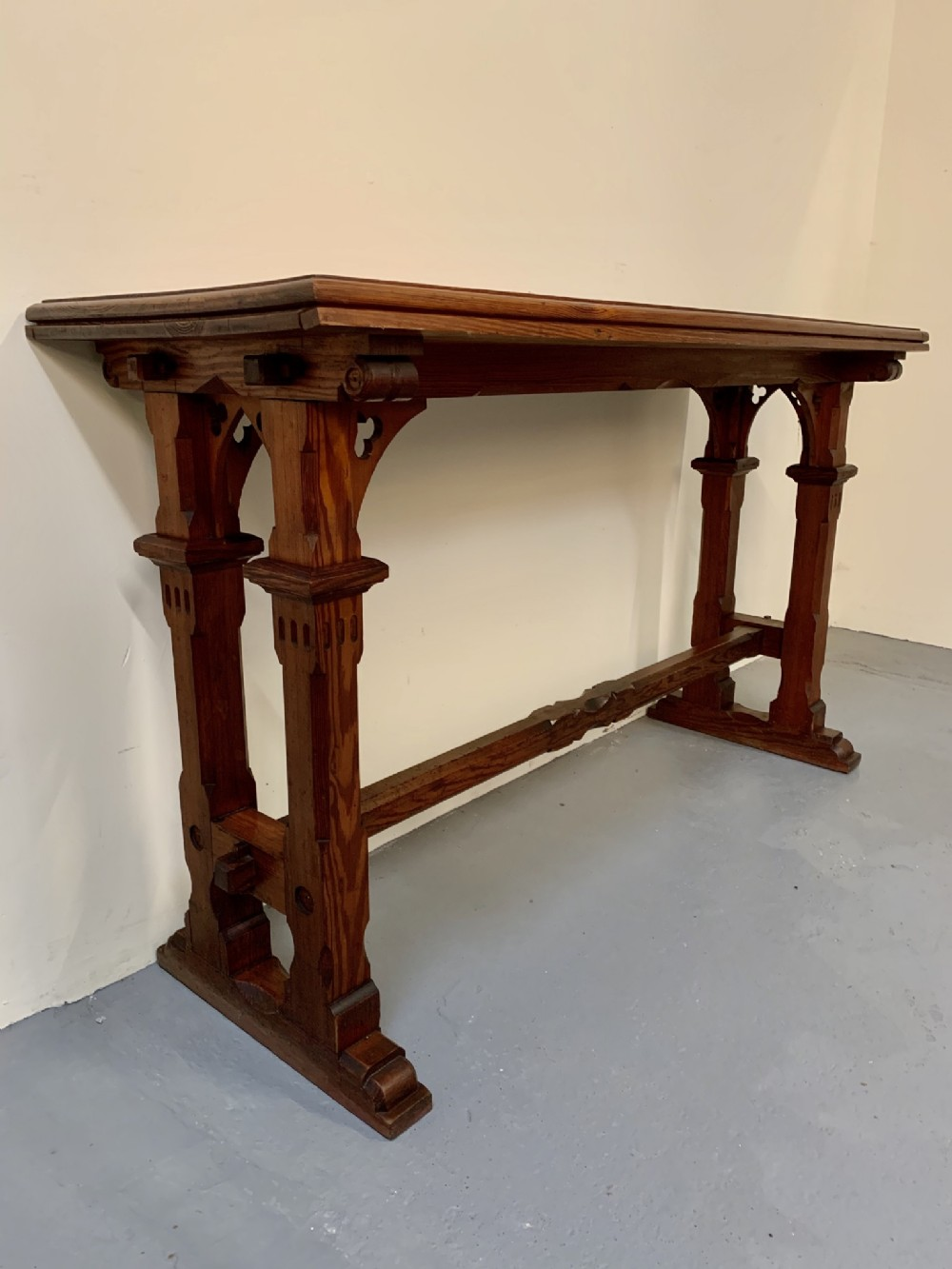 good narrow gothic pine console table