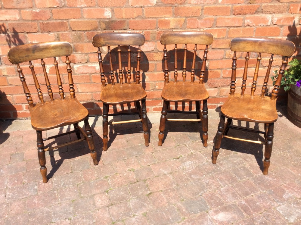 early 19th century set of 4 country chairs