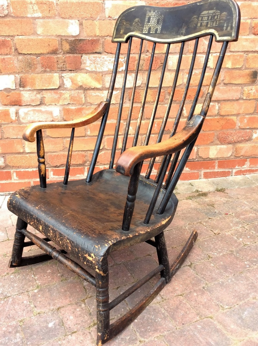 19thc painted rocking chair