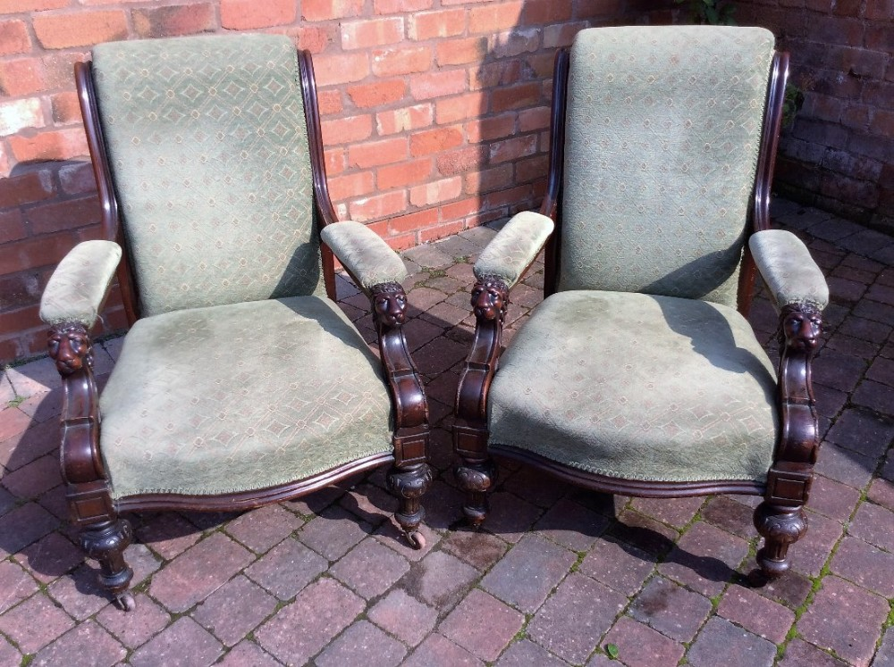 pair of mahogany lounge chairs