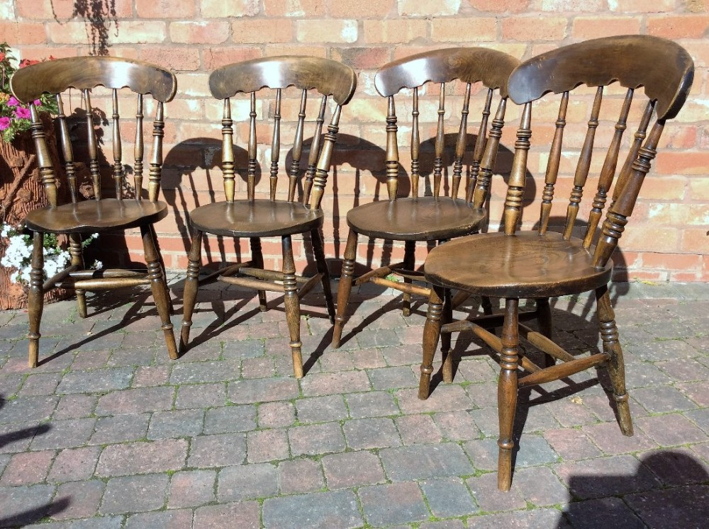 set of 4 early 19thc cottage chairs