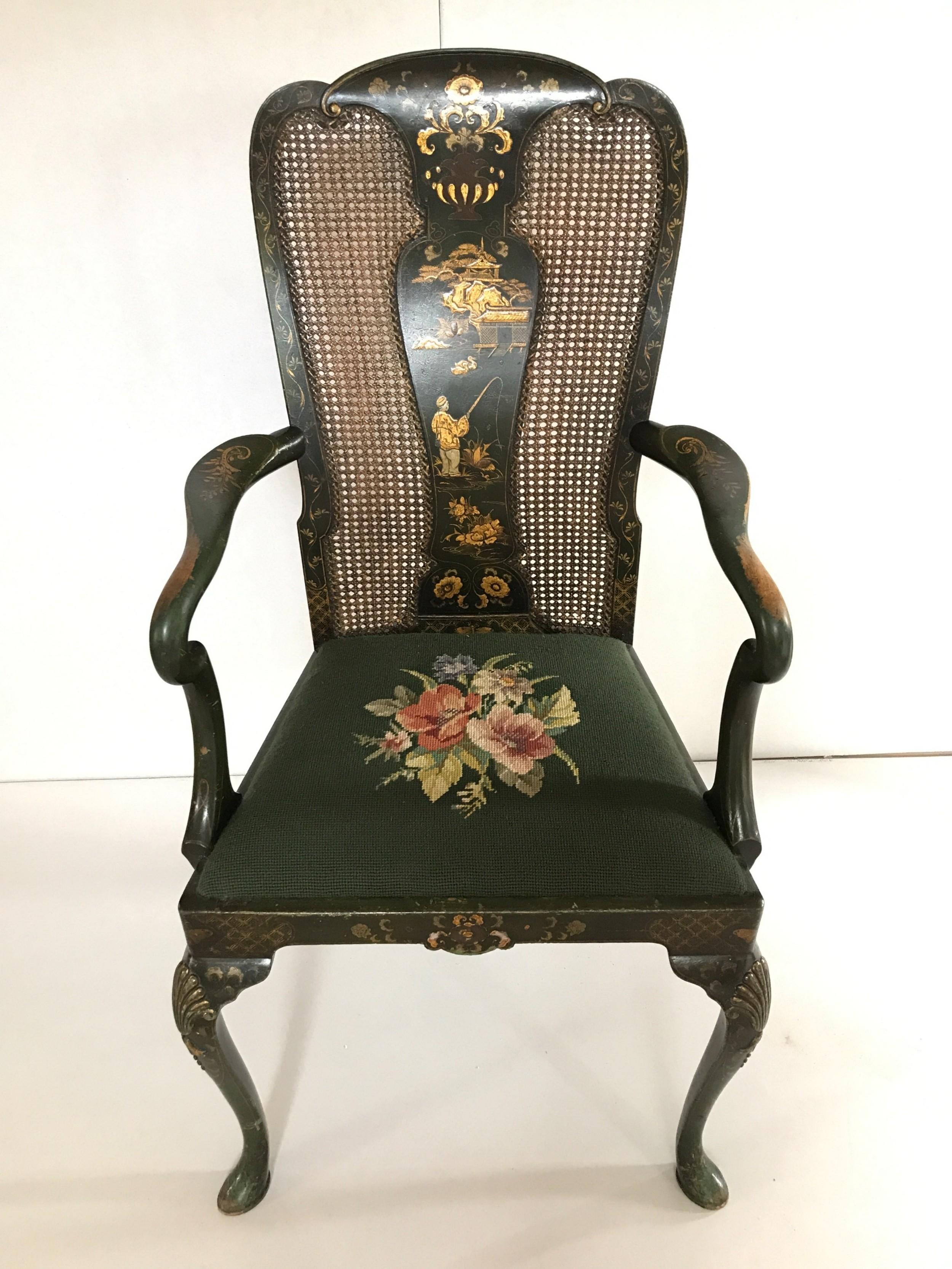 a queen anne style chinoiserie armchair