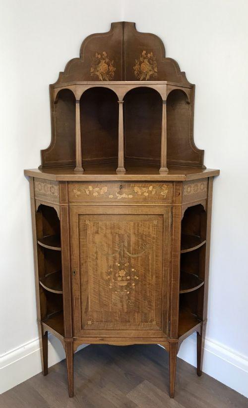 edwardian sheraton revival corner cupboard