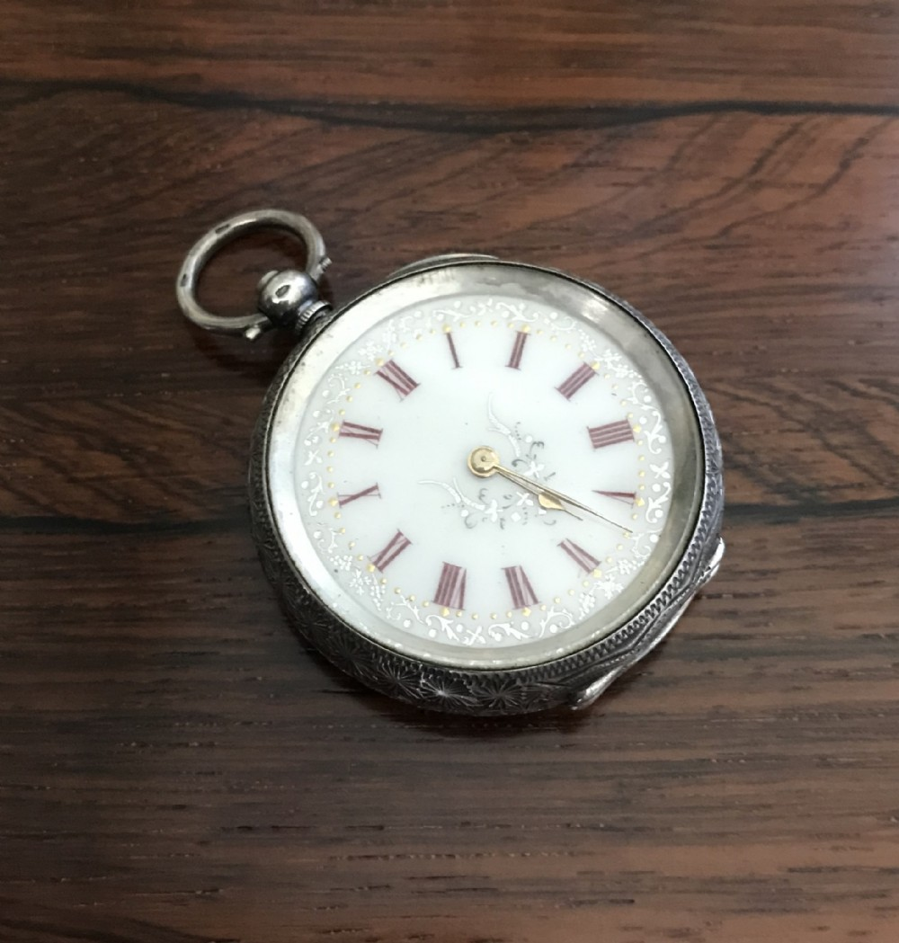 victorian solid silver swiss fob pocket watch