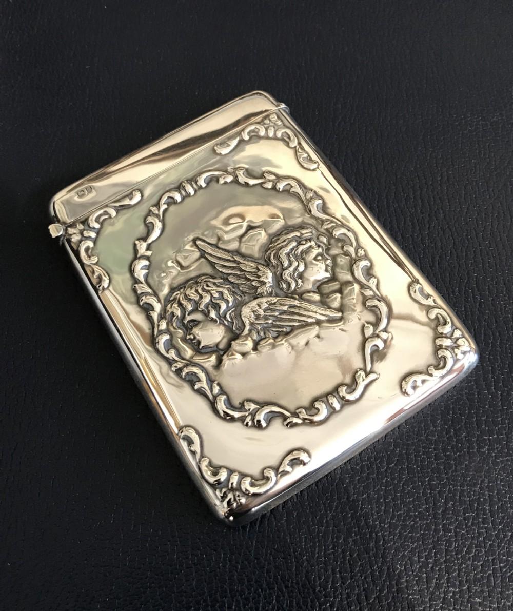 stunning edwardian silver card case reynolds angels
