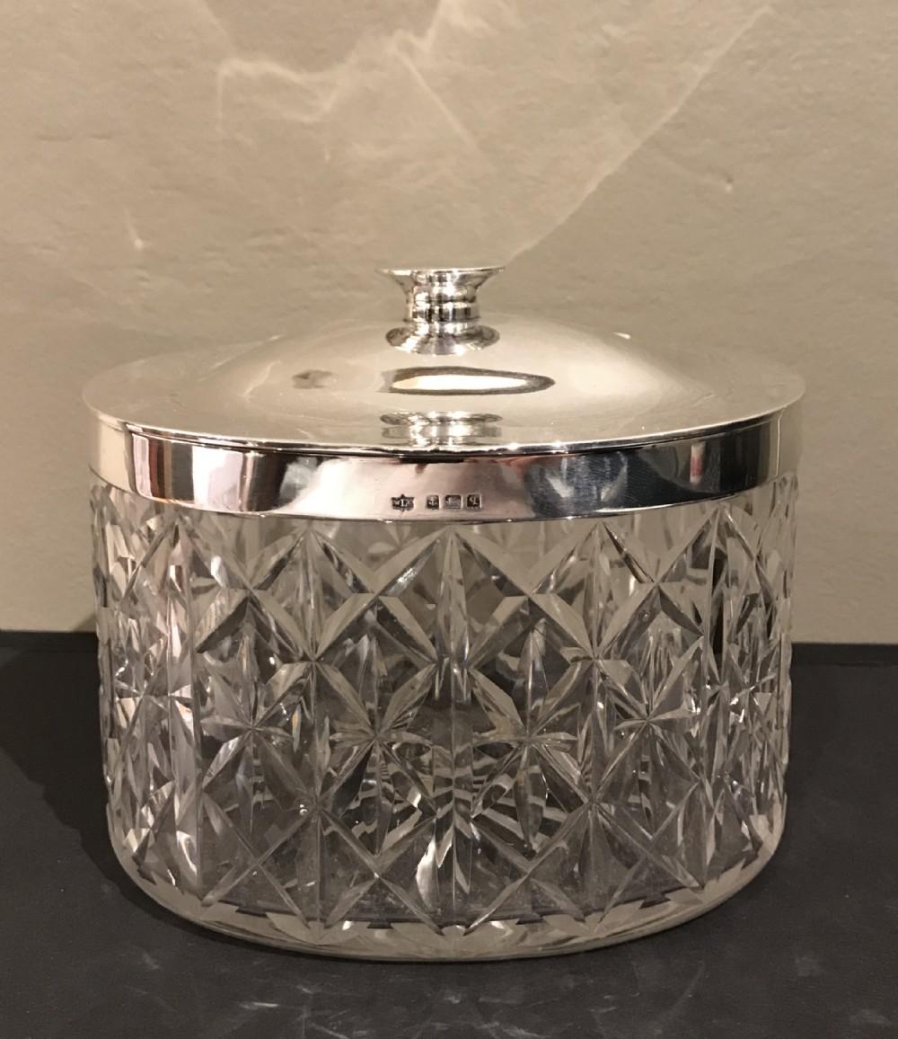 superb george v silver cut glass biscuit box 1915