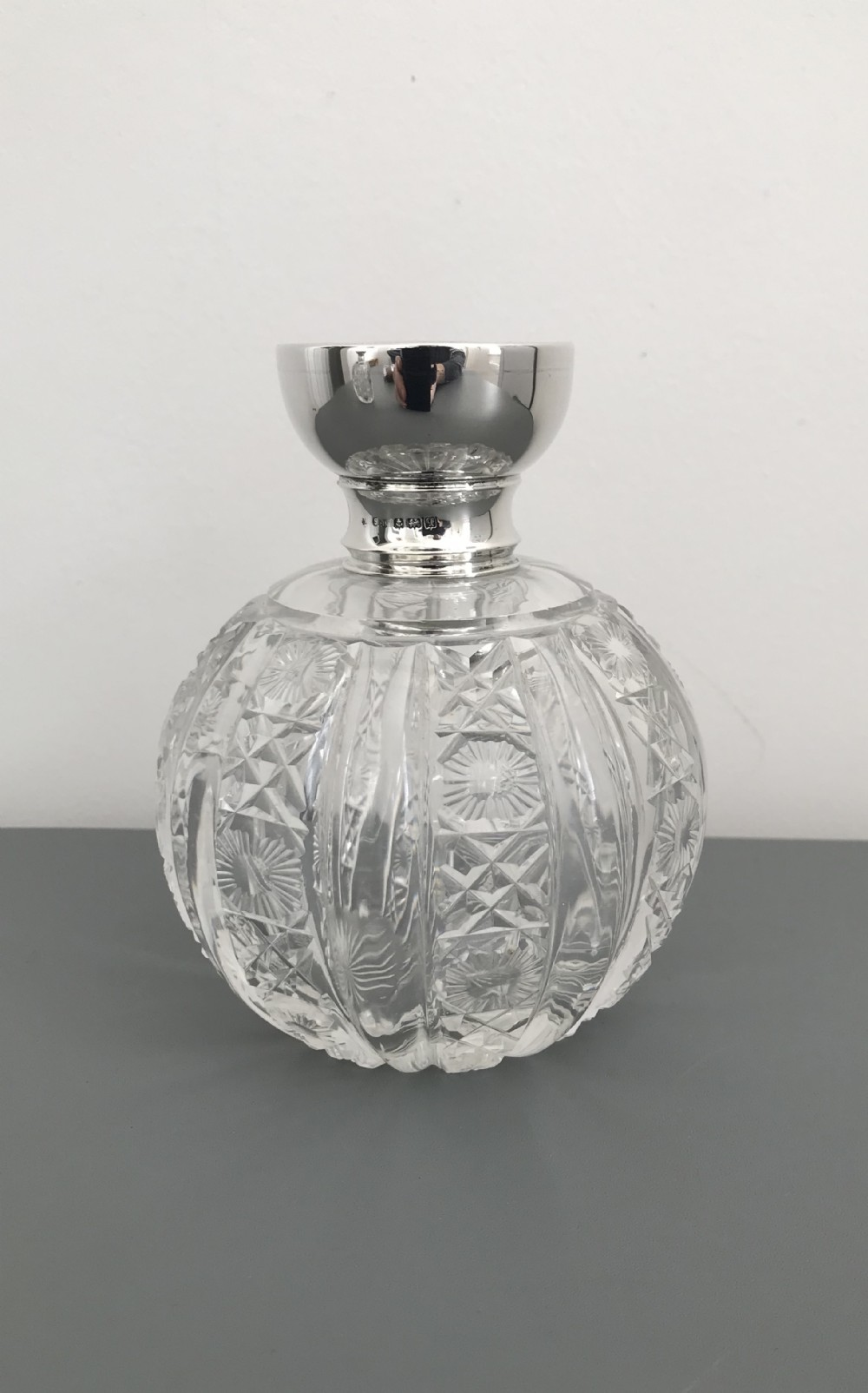 large george v silver and cut glass perfume bottle