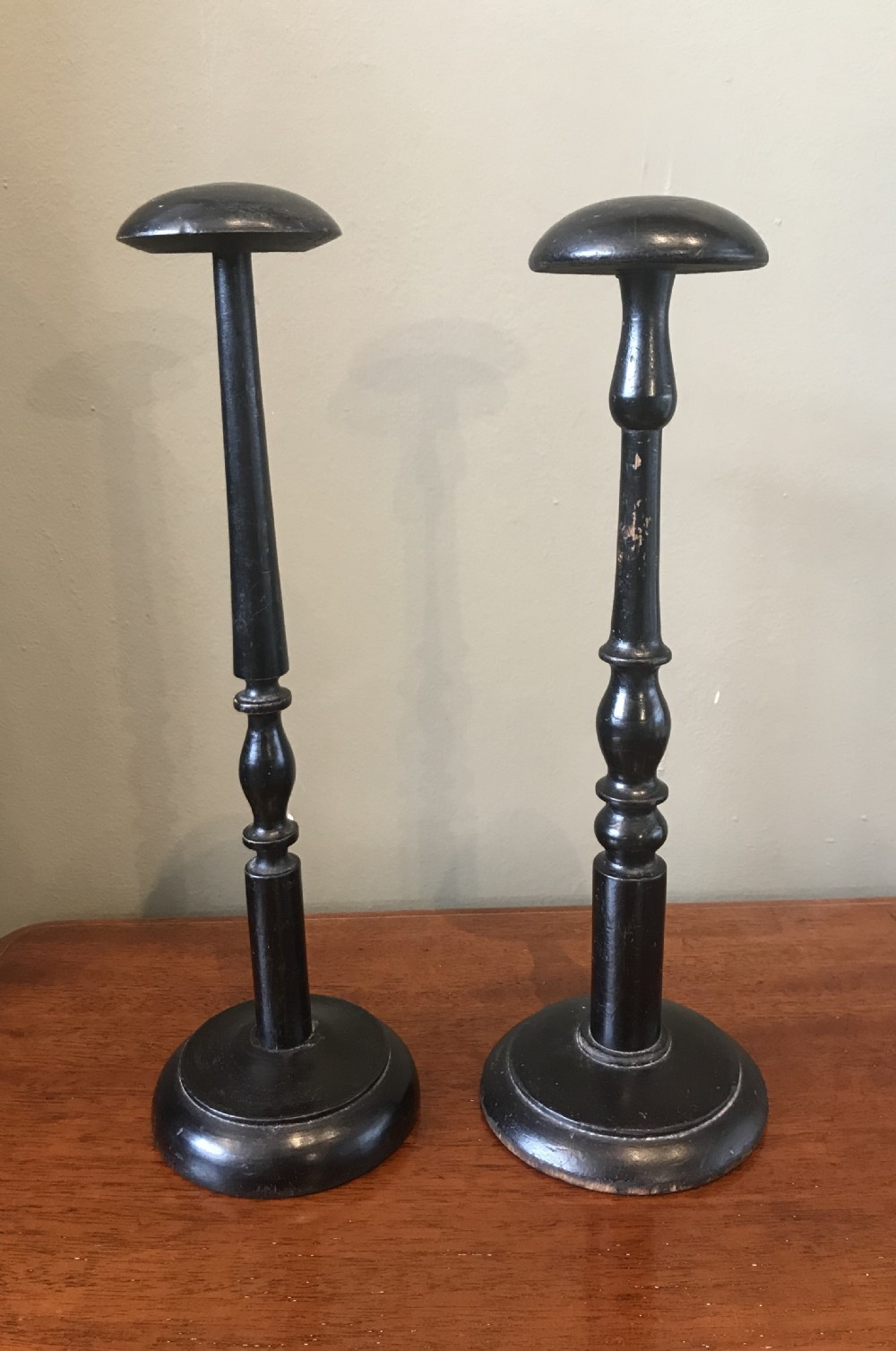 two georgian wig stands