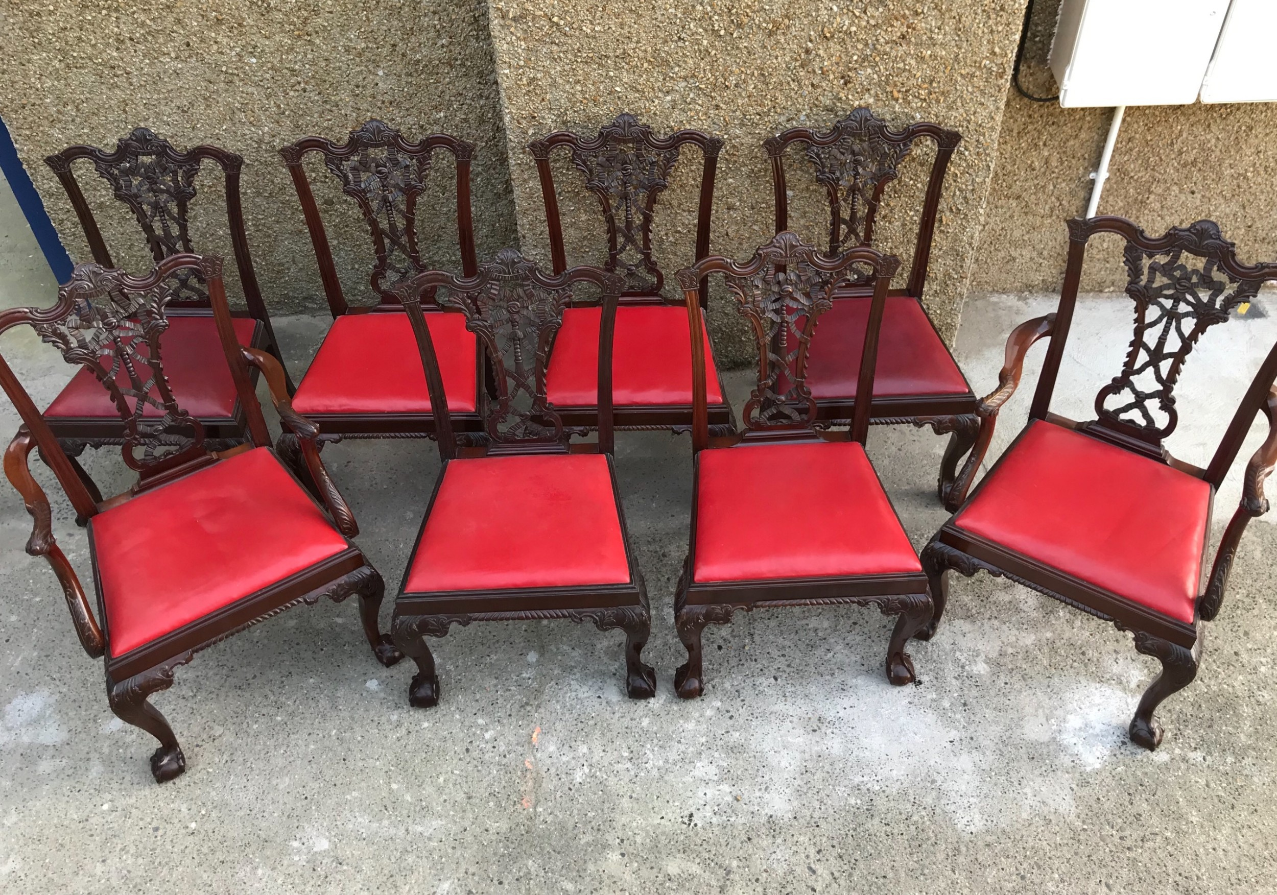 set of eight edwardian chippendale style dining chairs