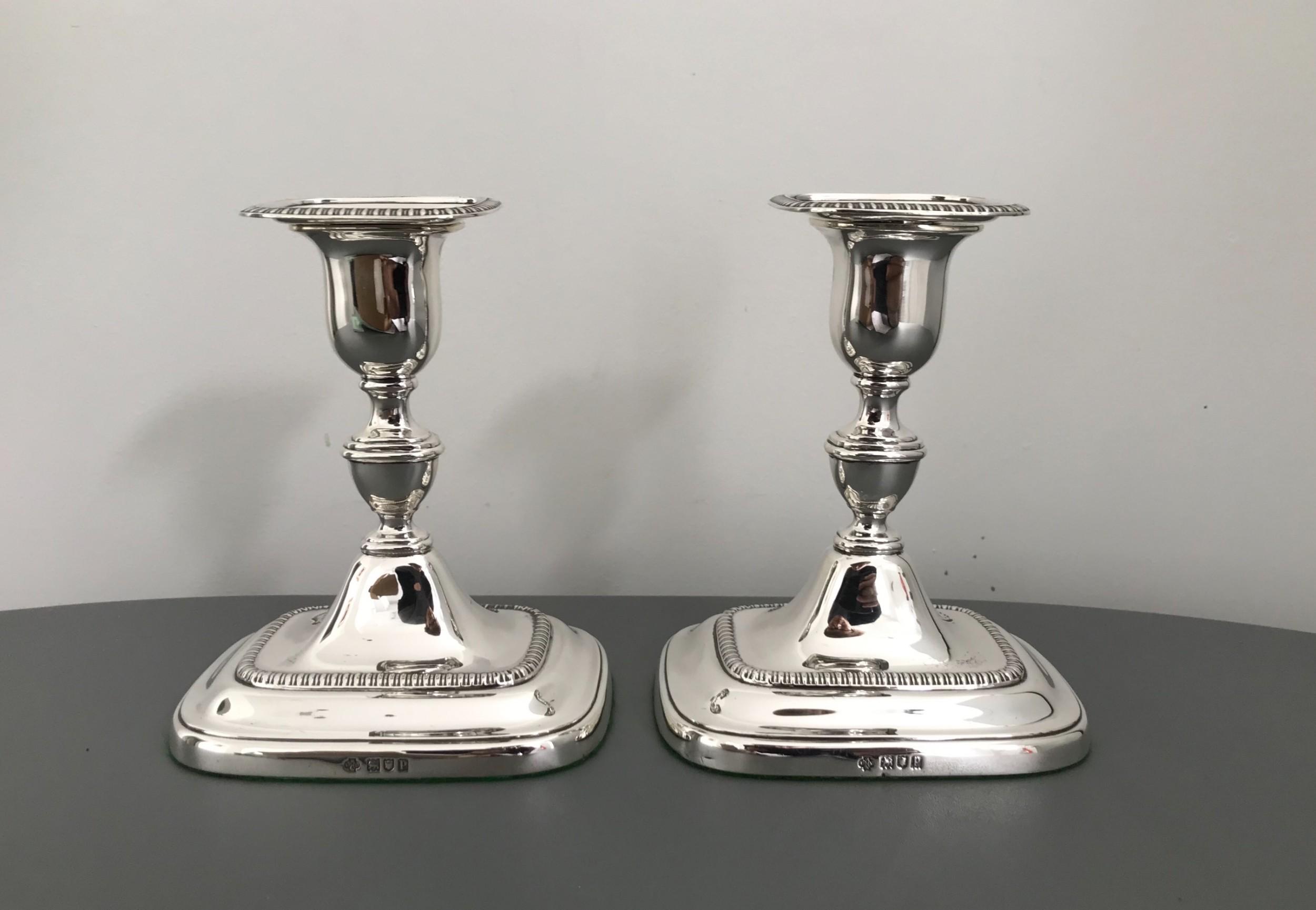 quality pair edwardian silver candlesticks