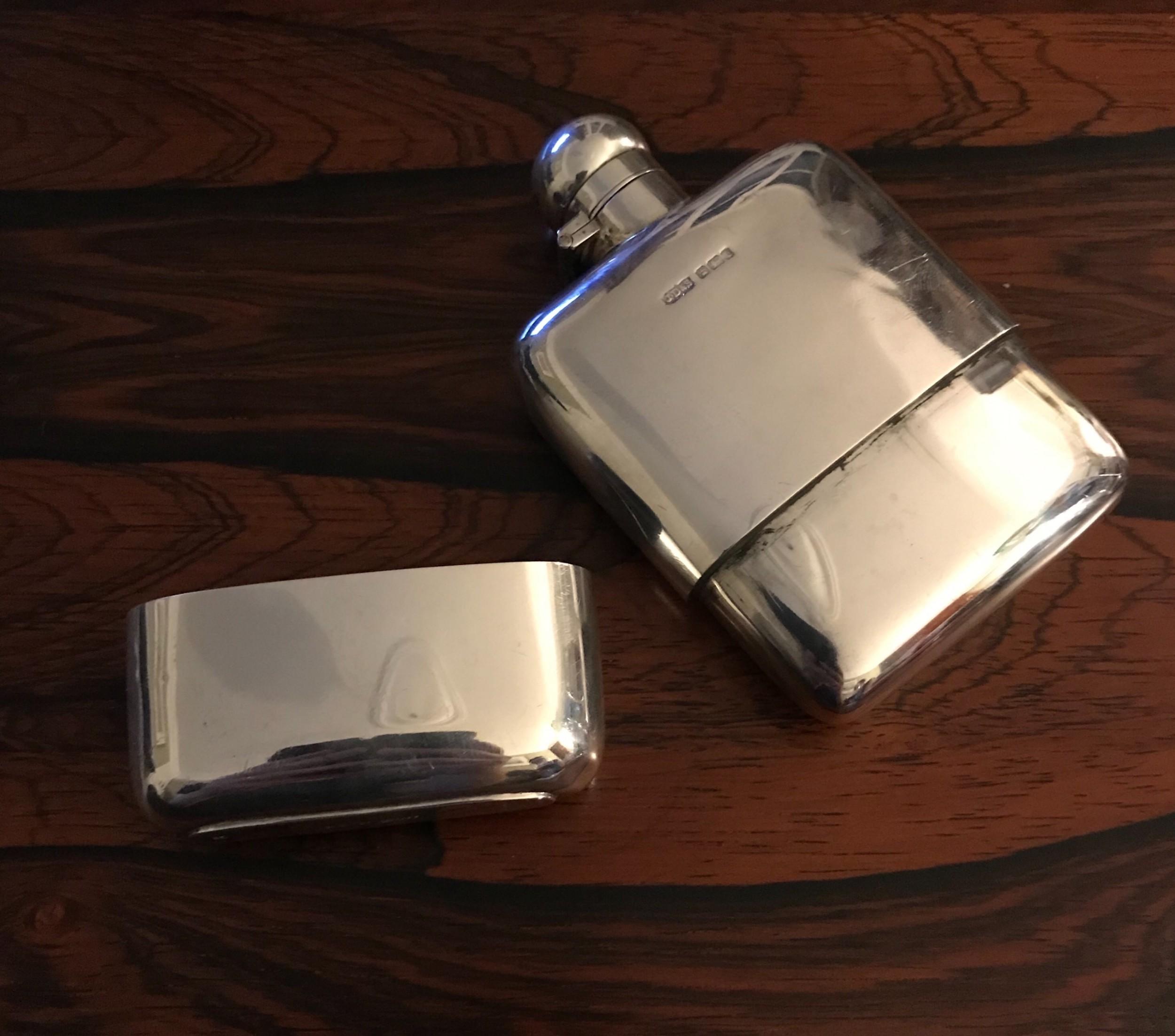 edwardian silver hip flask 1903