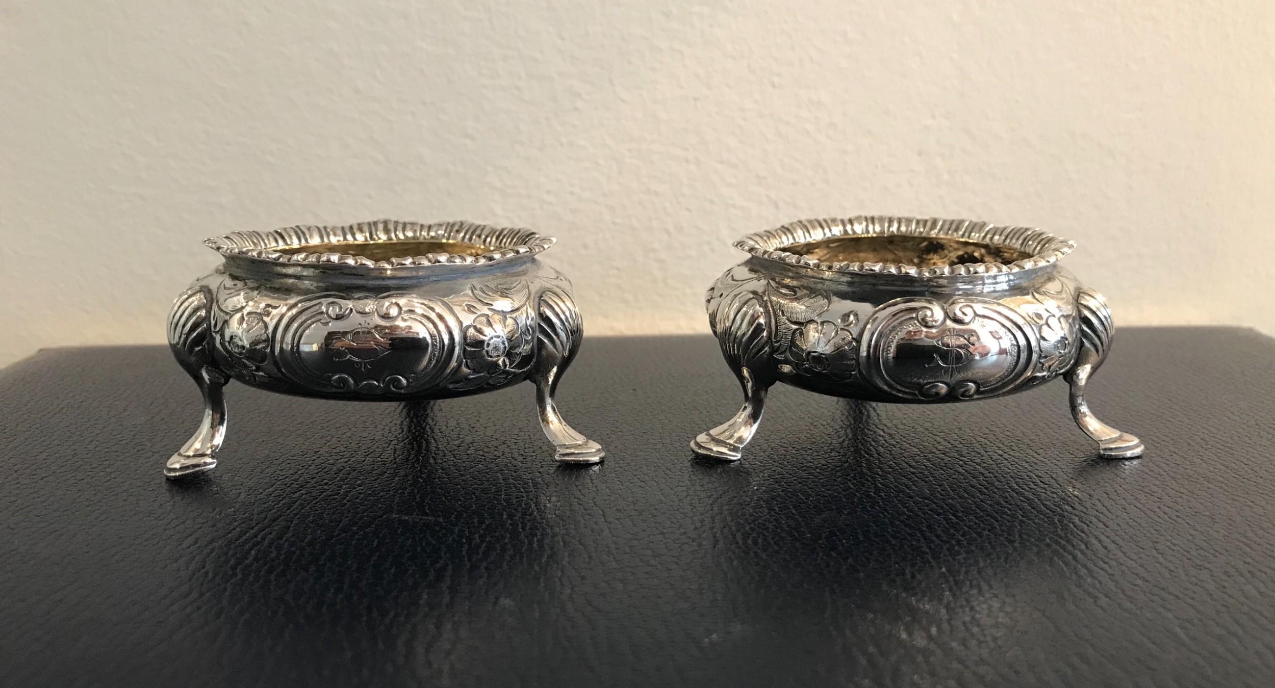 good pair of victorian silver salts 1865