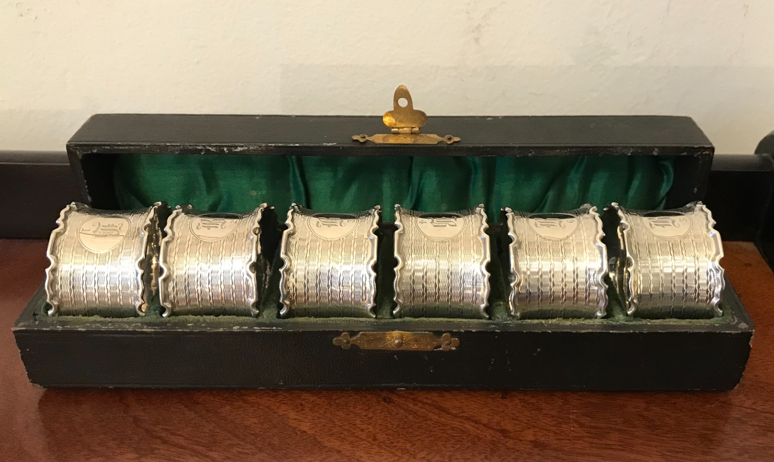 good set of six george v solid silver napkin rings