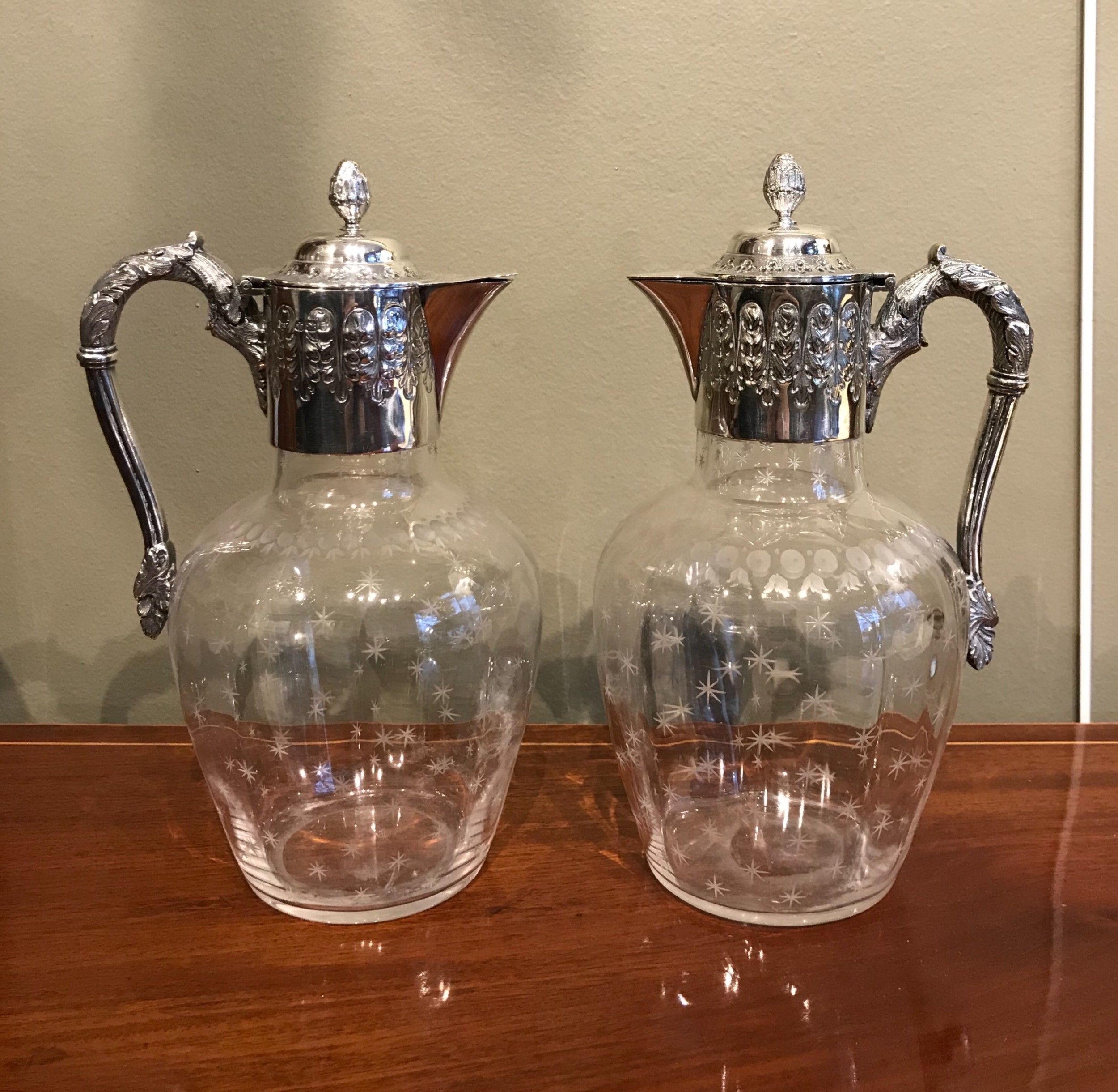 a superb pair of victorian silver claret jugs by mappin webb