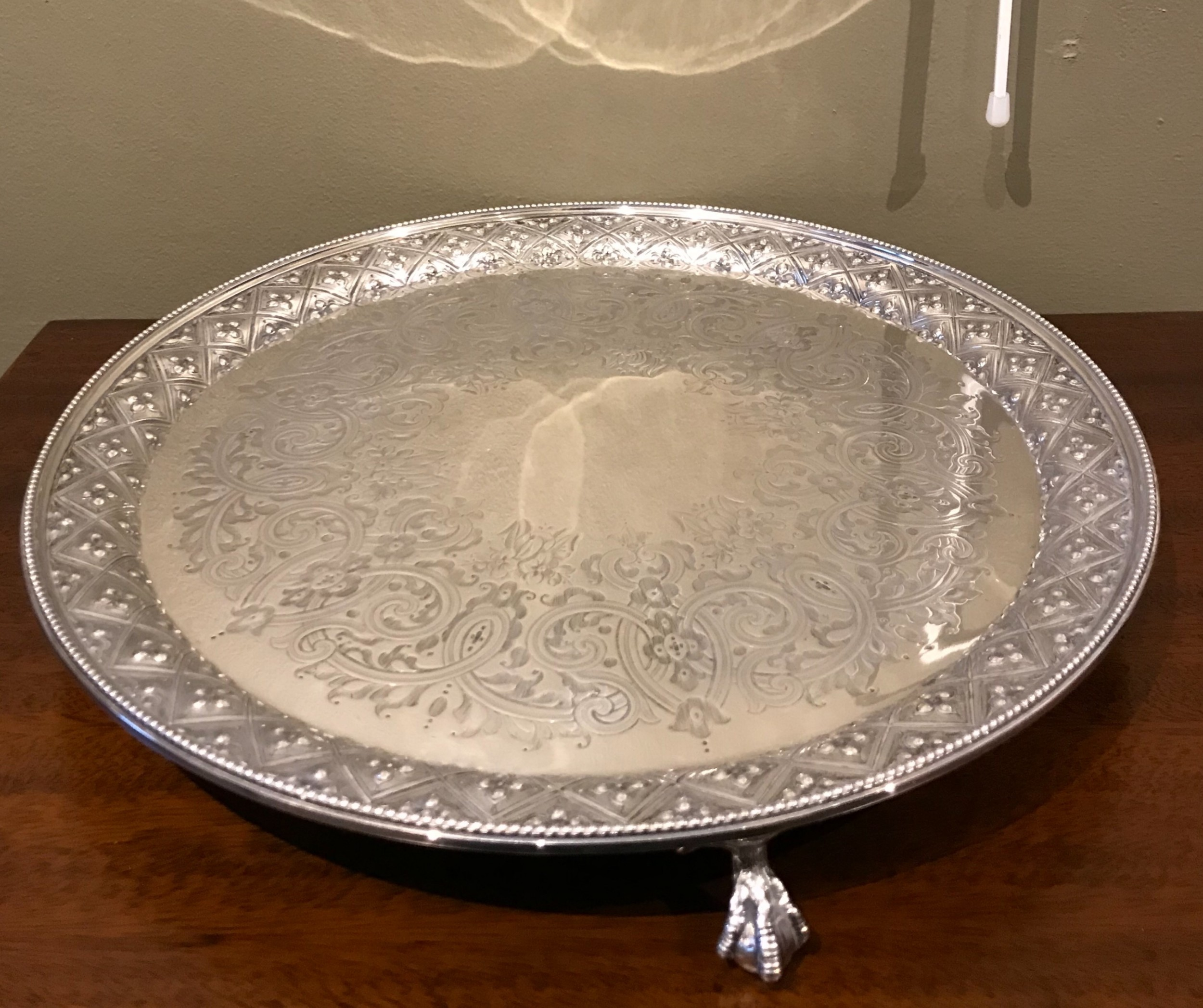 large and impressive victorian silver tray