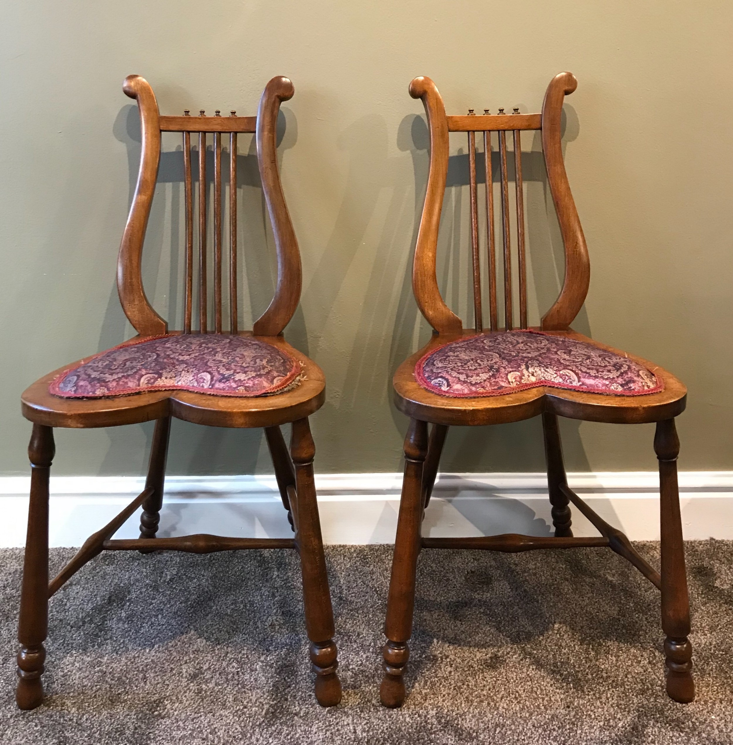 pair of victorian mahogany lyre chairs
