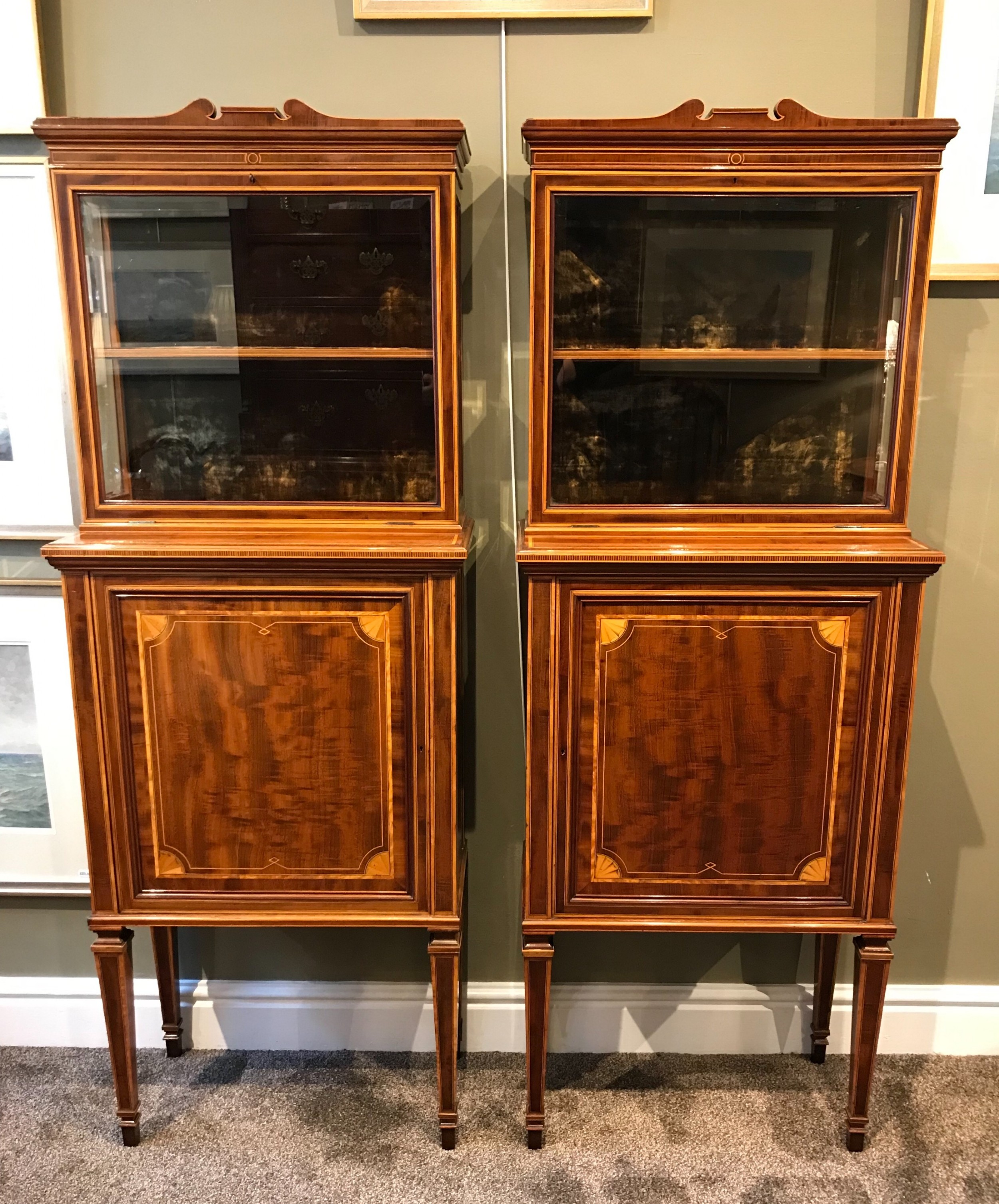 fine pair of edwardian mahogany display cabinets