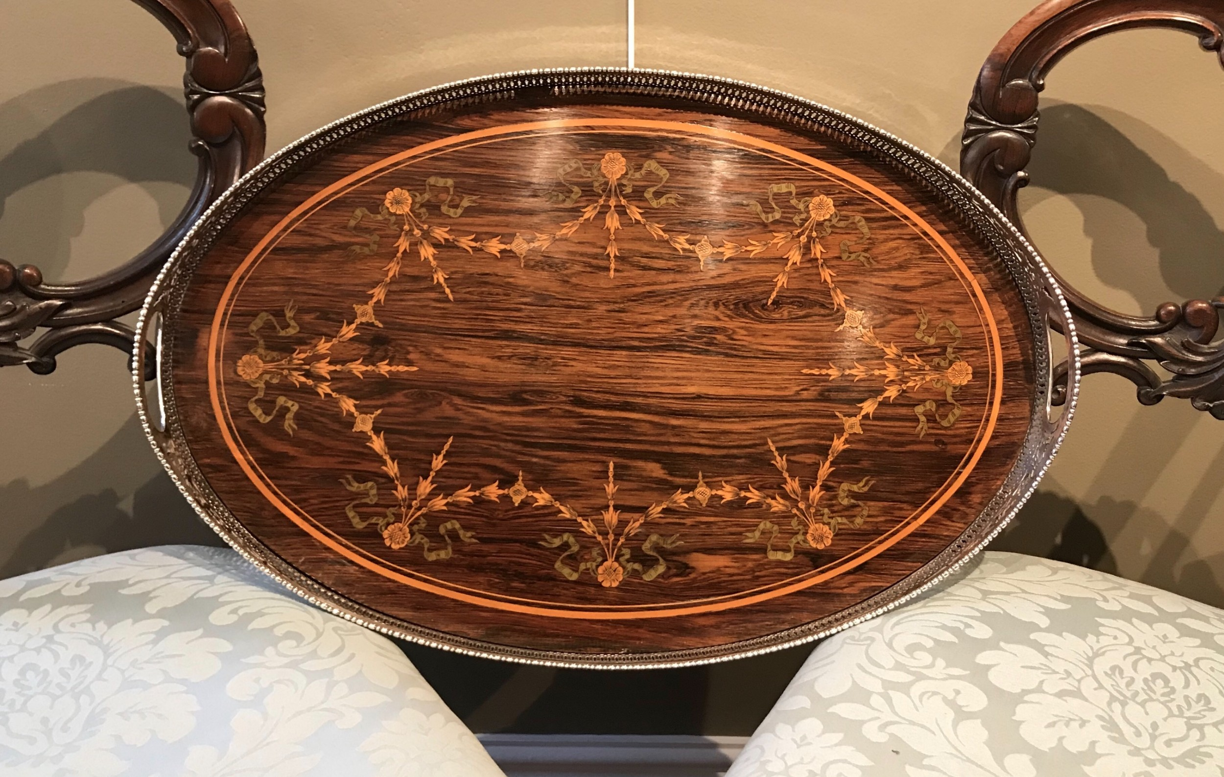 superb victorian silver plated rosewood tray