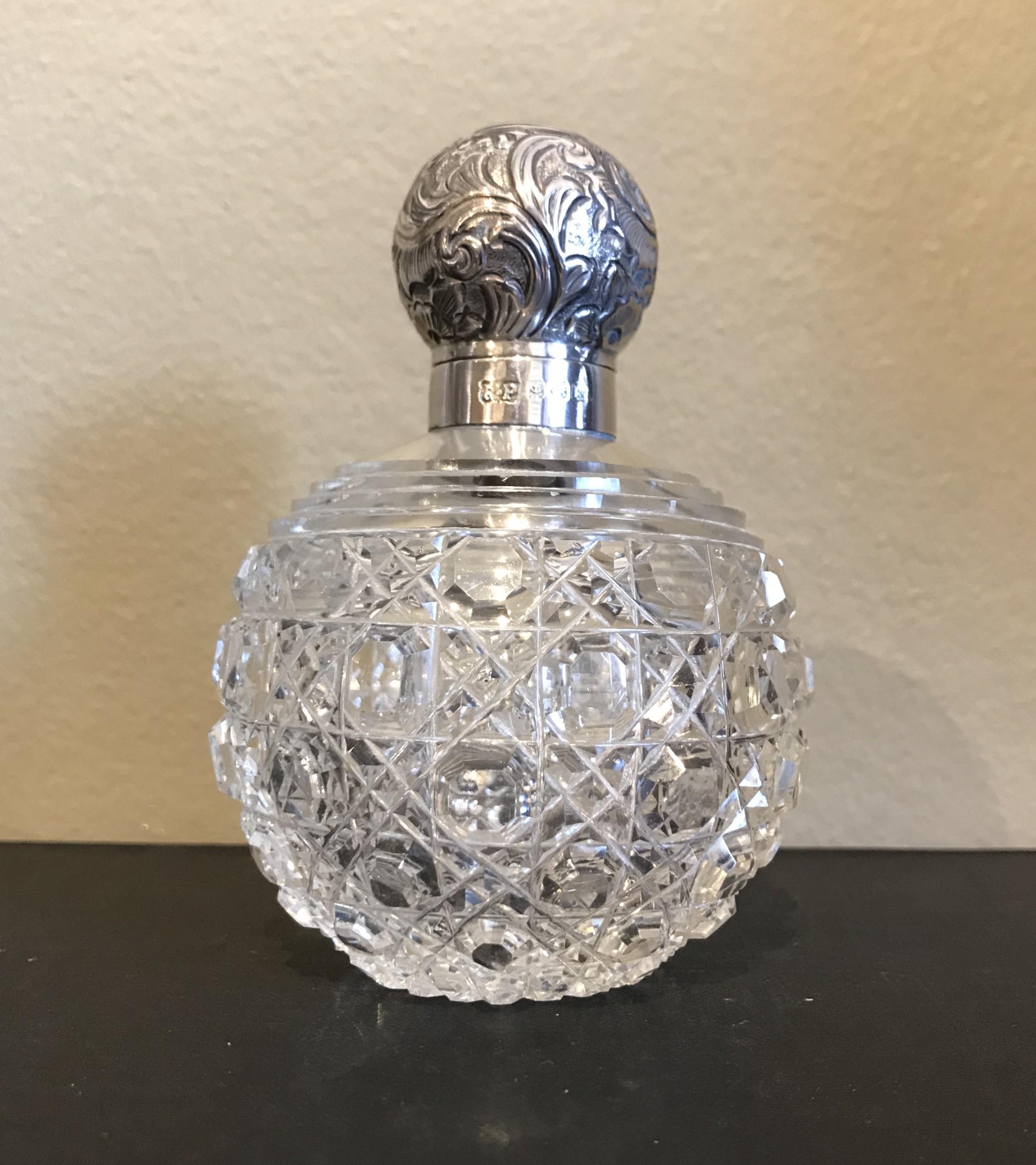 edwardian silver cut glass scent bottle