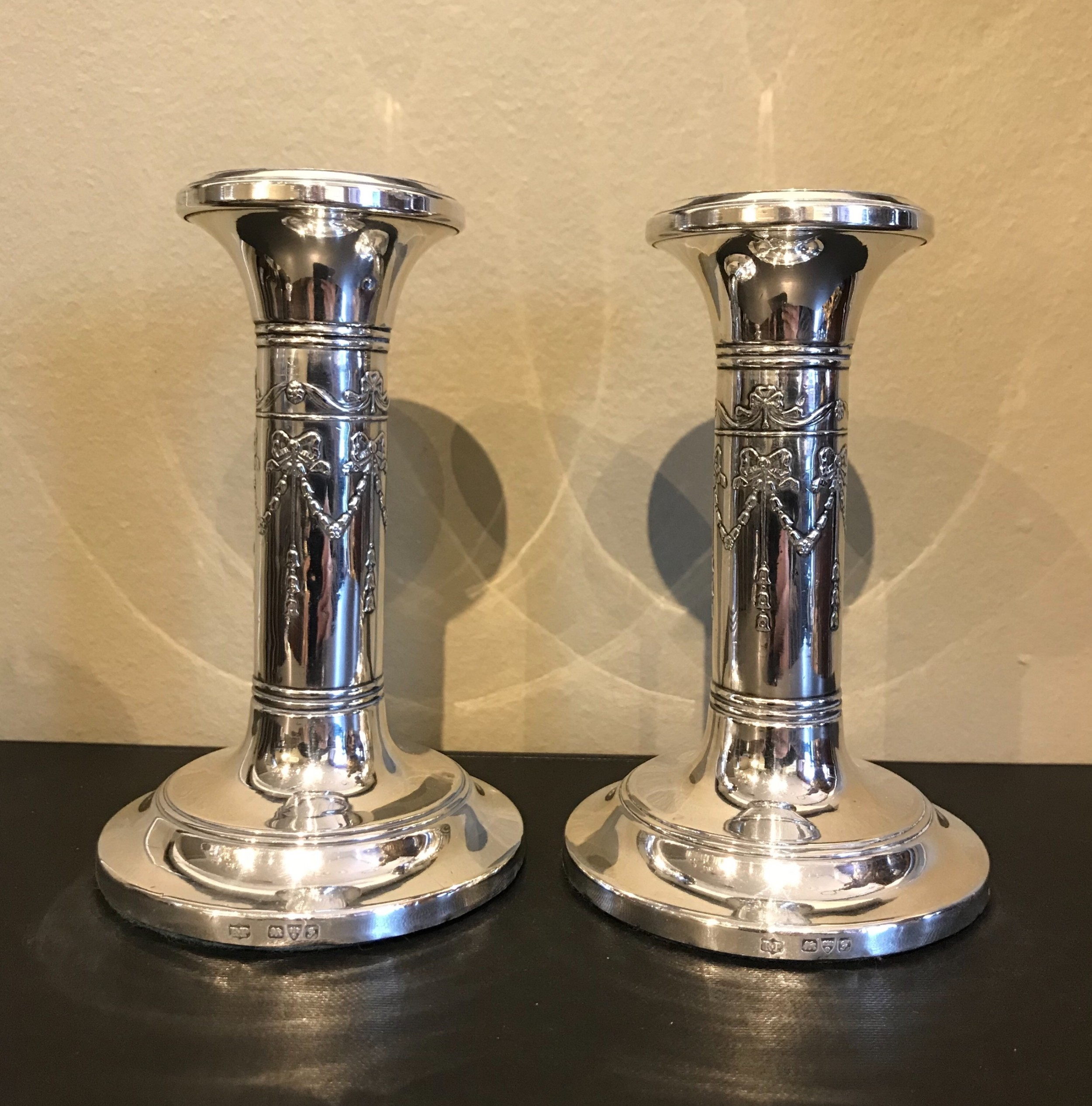pair of edwardian solid silver candlesticks chester