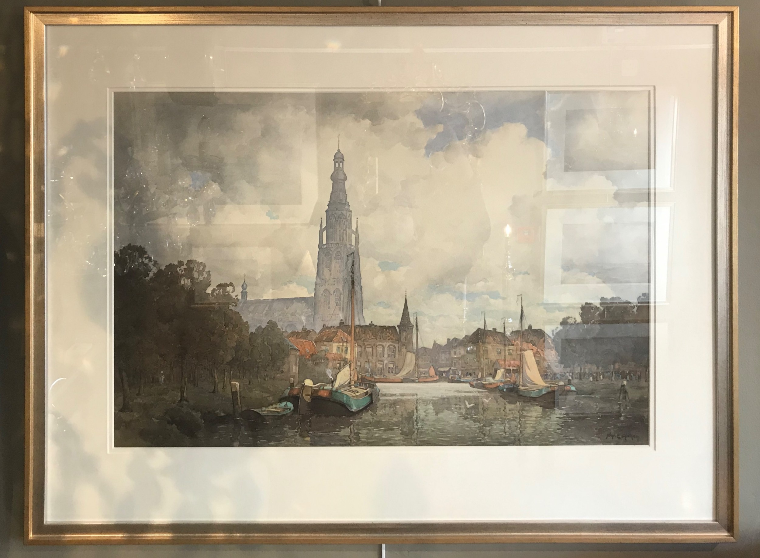 large watercolour of breda the netherlands by john ernest aitken