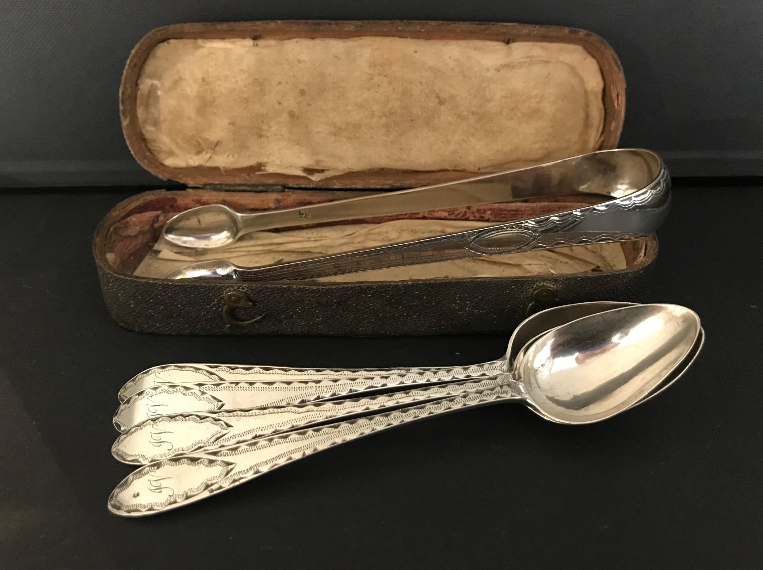 rare set of georgian silver tongs spoons edinburgh c1790