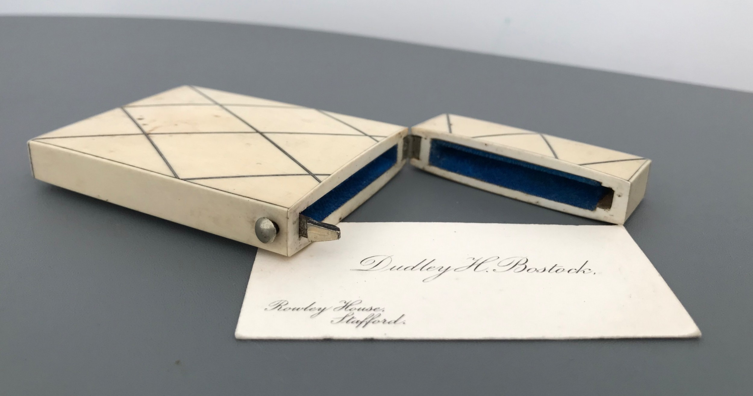superb quality ivory and silver card case