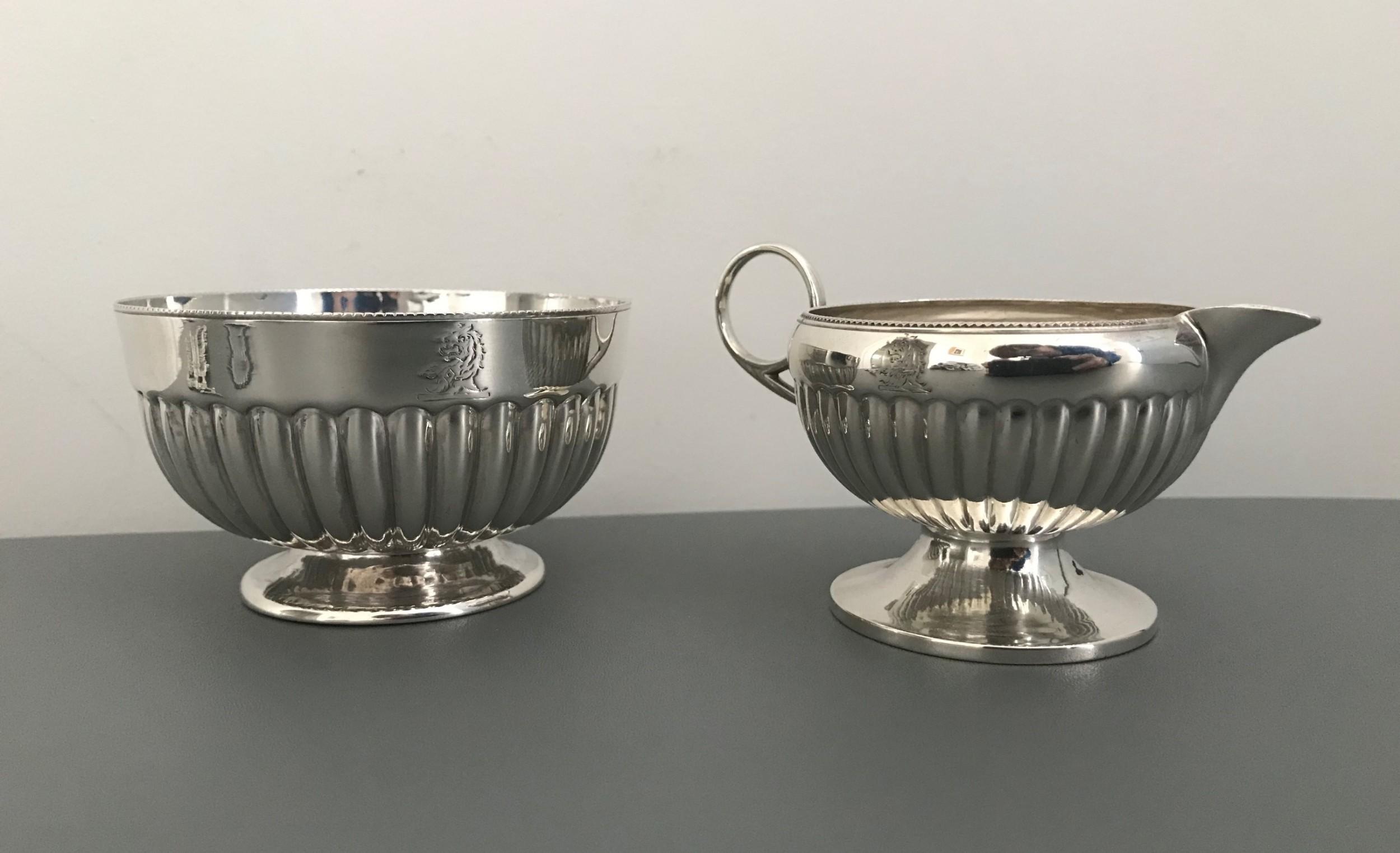 victorian solid silver sugar cream set